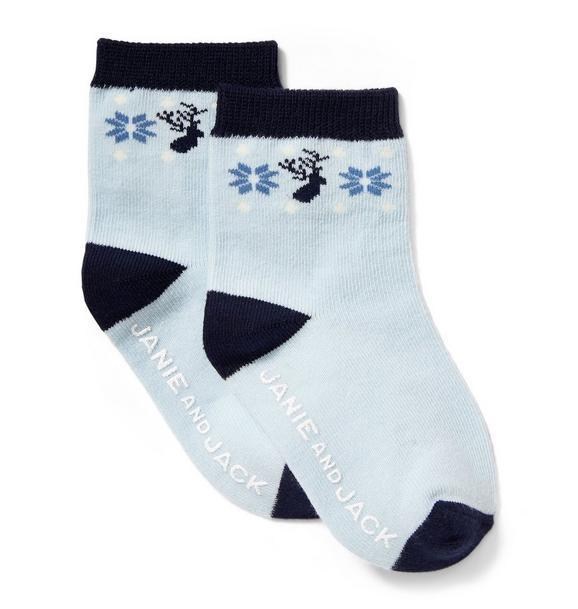 Fair Isle Deer Sock