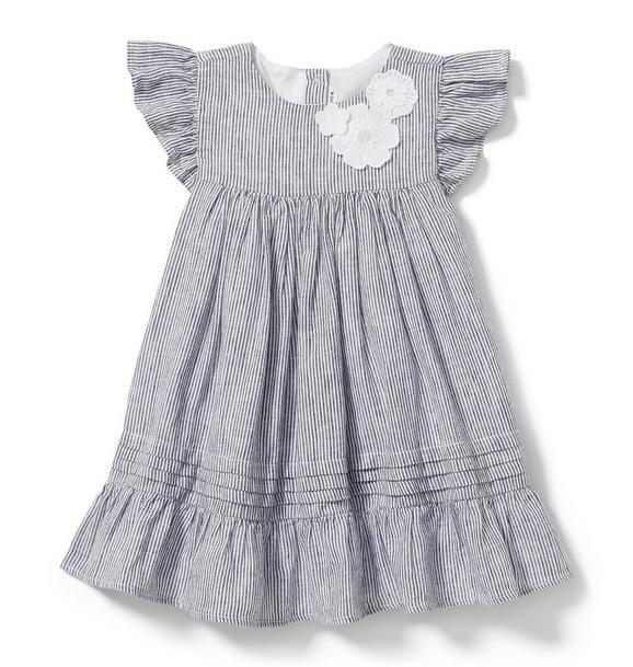 Linen Stripe Floral Applique Dress