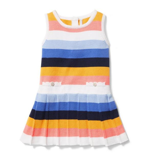 Stripe Pleated Sweater Dress