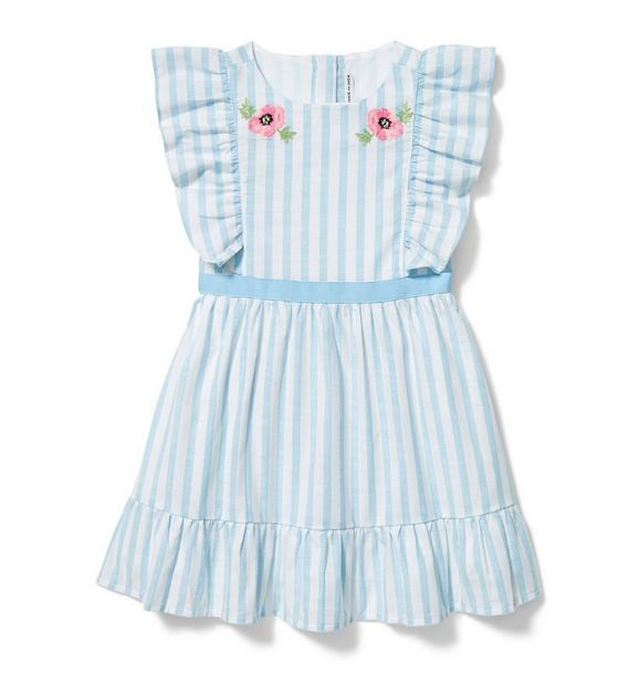 Embroidered Flower Stripe Dress