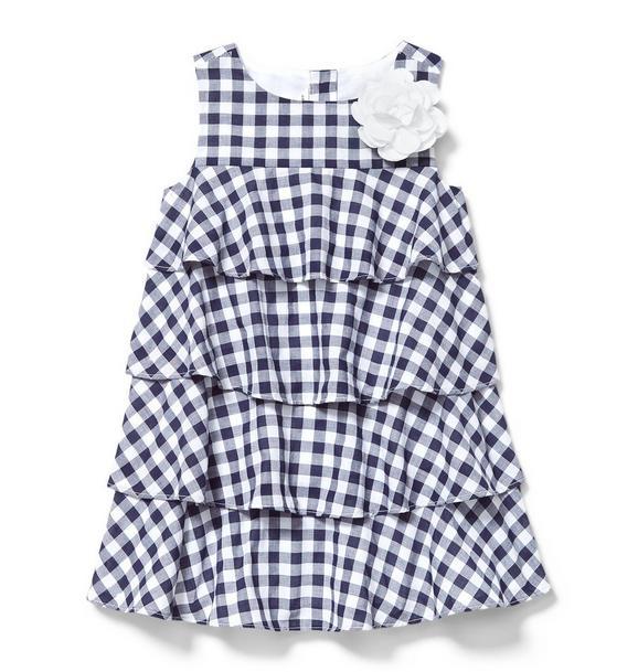 Gingham Tiered Ruffle Dress