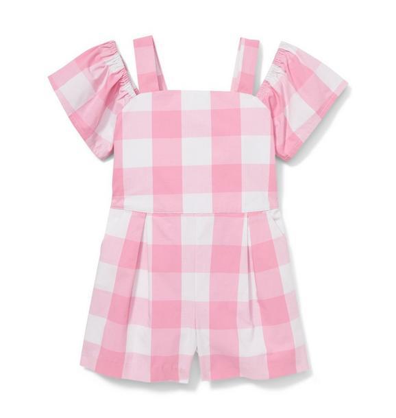 Pink Gingham Romper