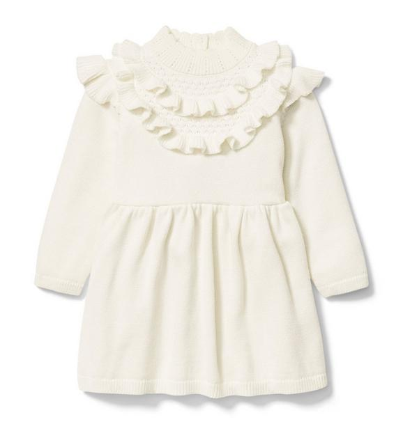 Pointelle Collared Sweater Dress