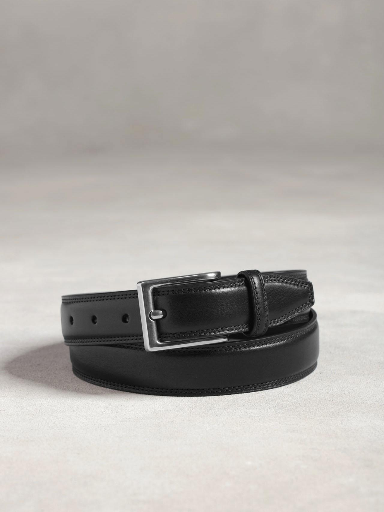 Leather Stitched Panel Belt