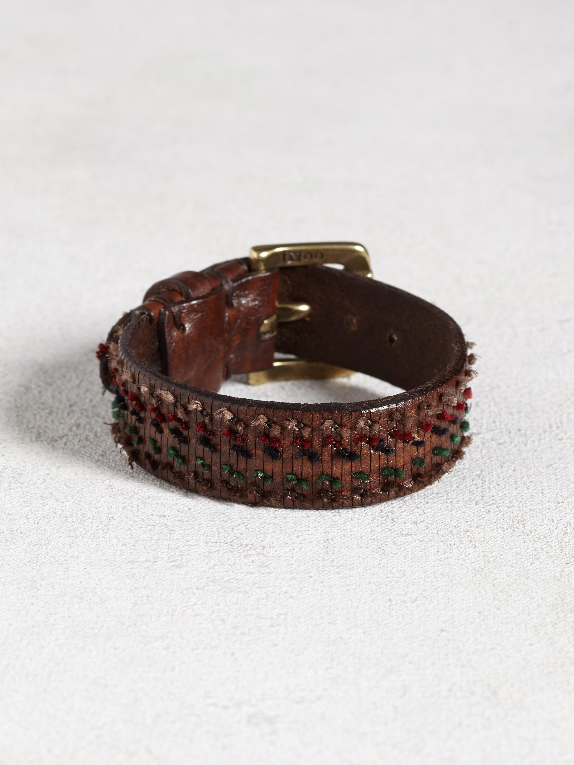 Leather Cuff With Hand Knotting