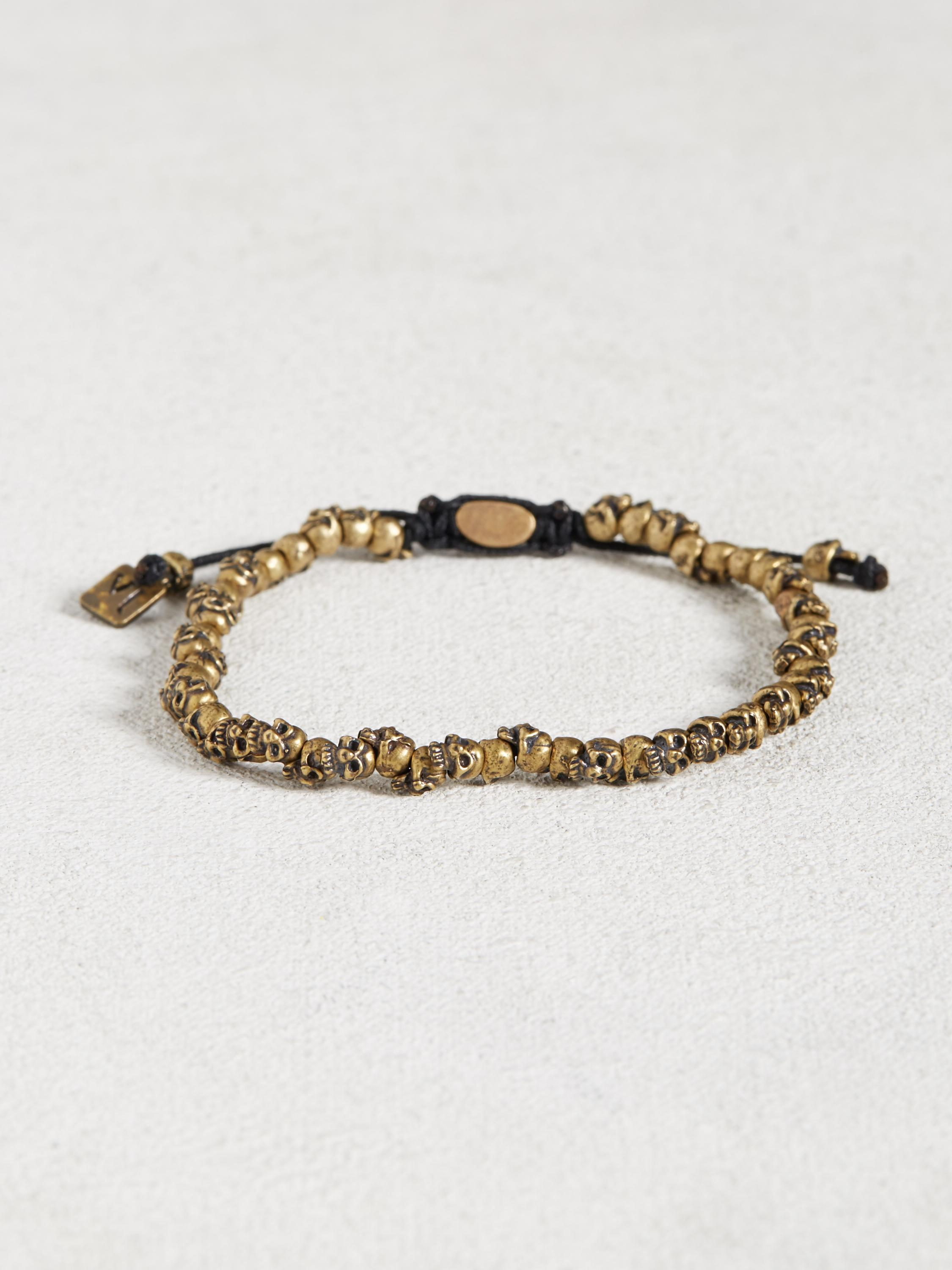 Single Row Brass Skull Bracelet