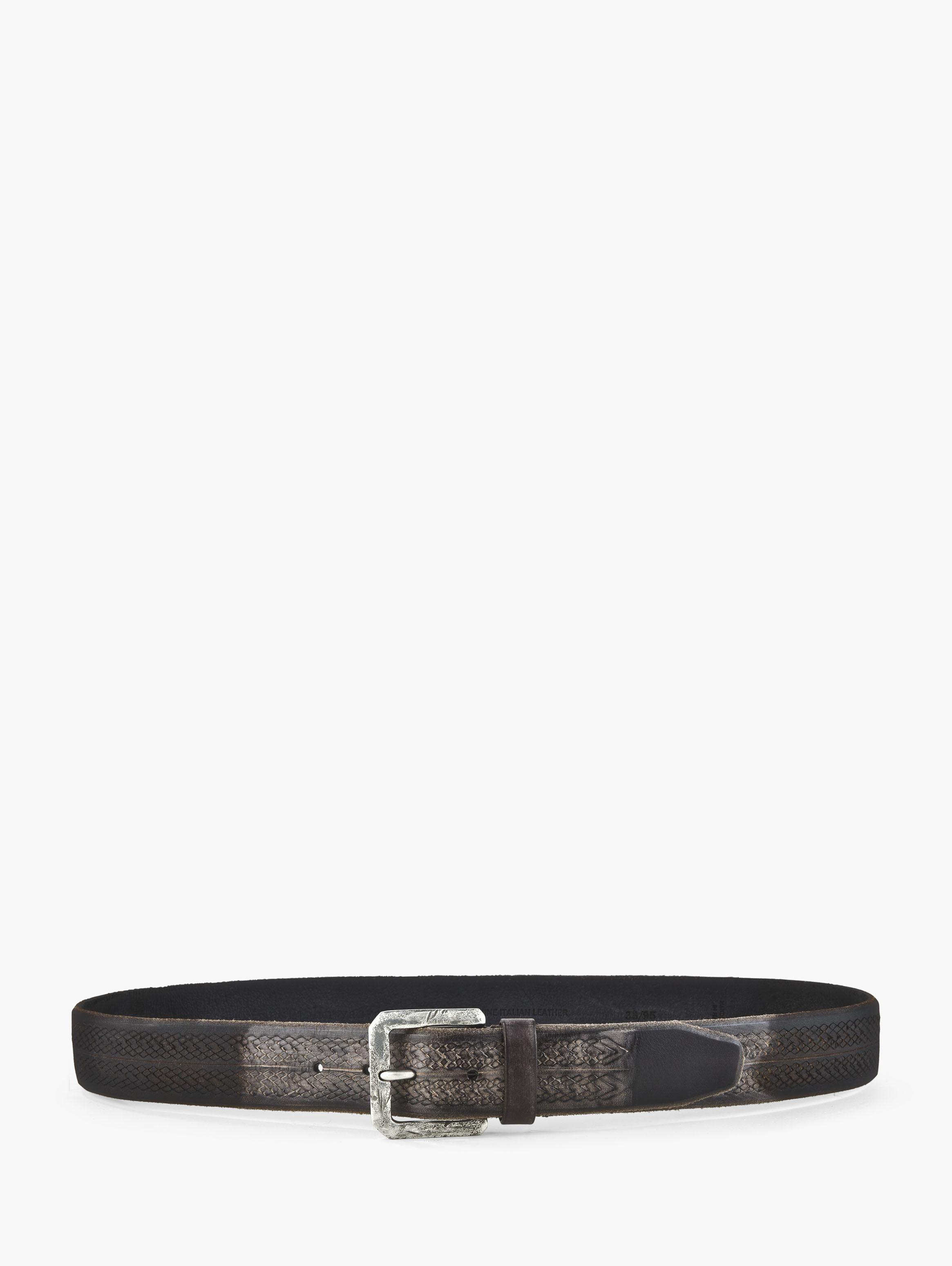 Laser Cut Burnished Leather Belt