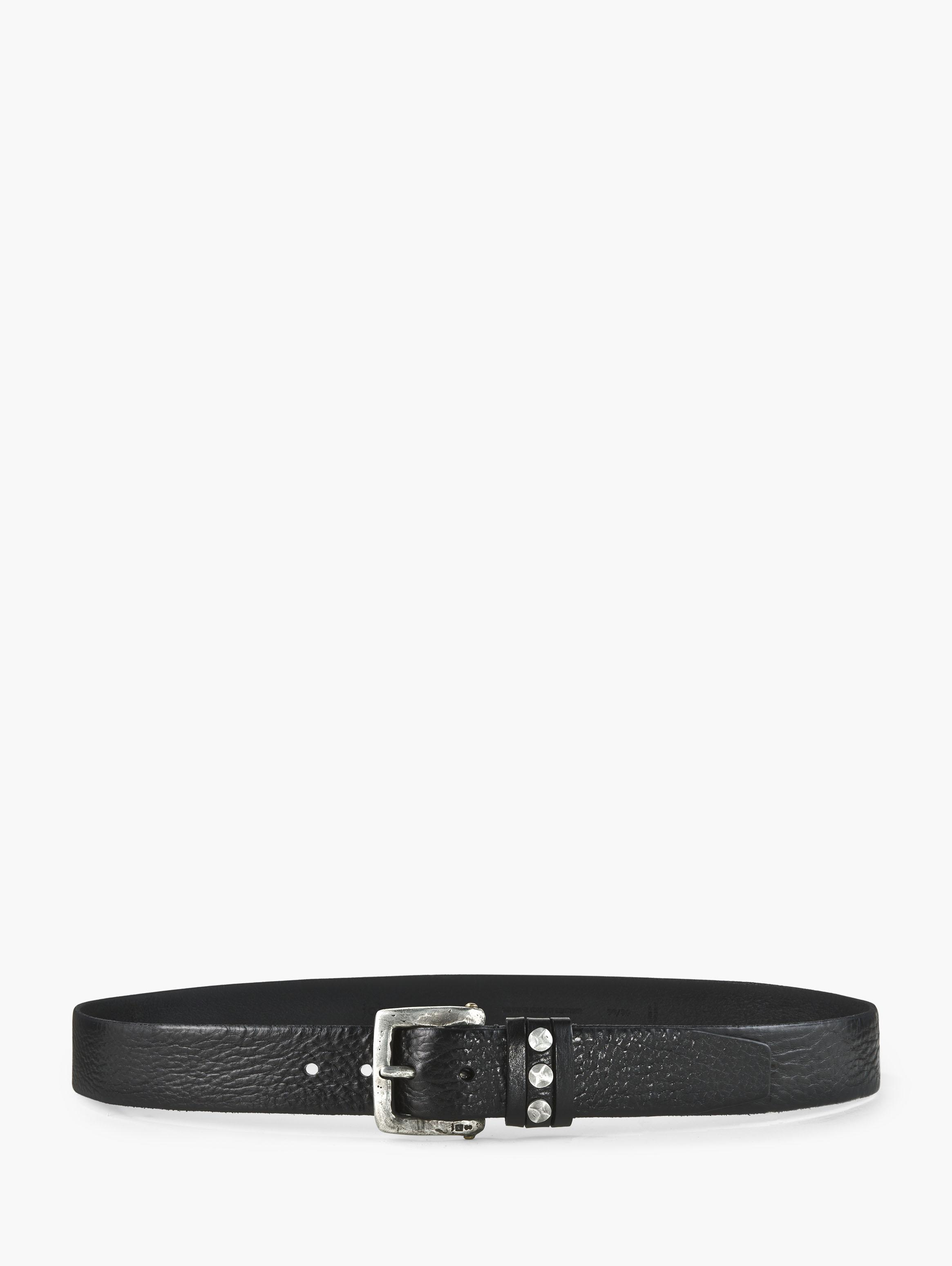 Pewter Studded Leather Belt