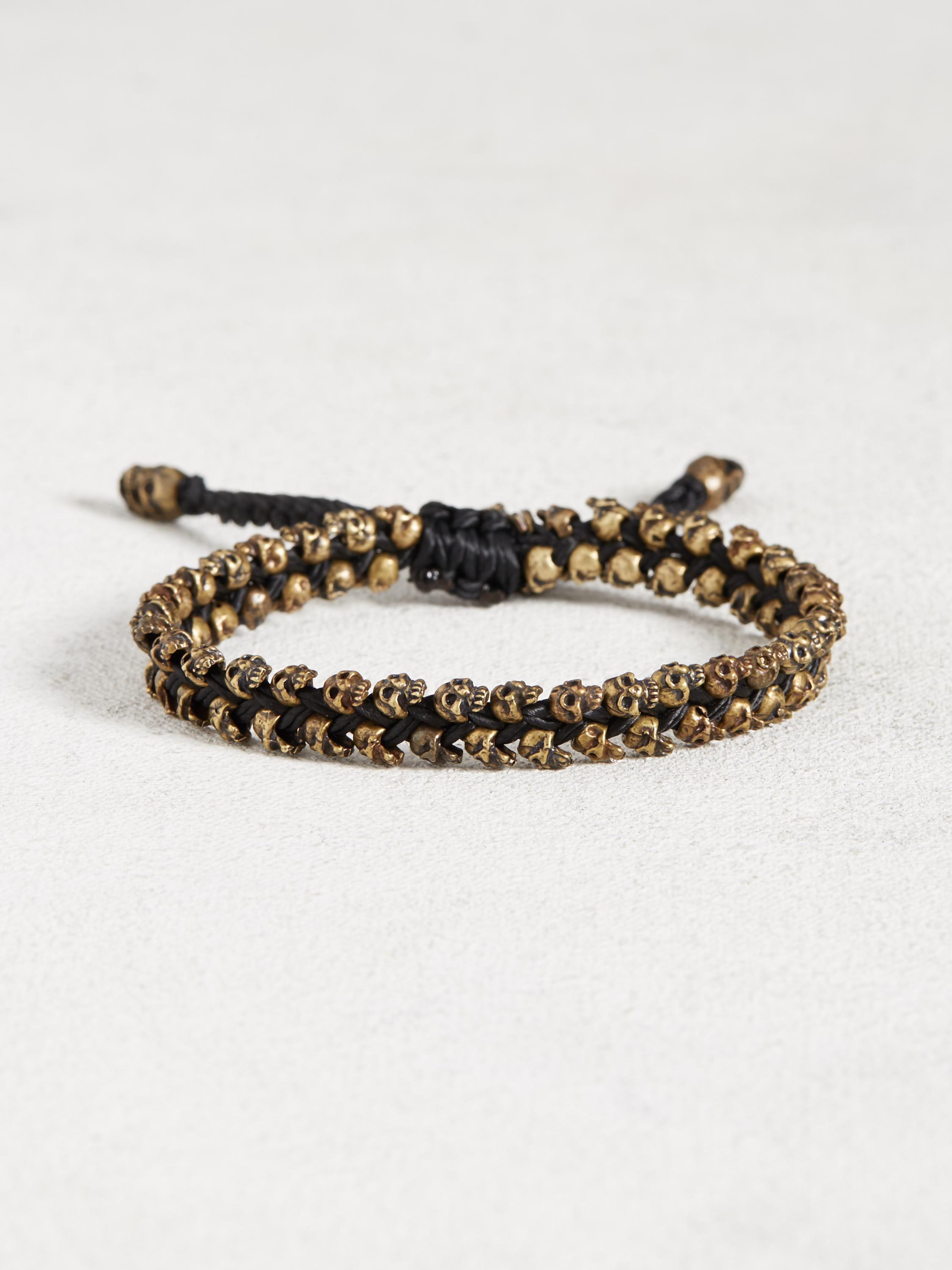 Double Row Brass Skull Bracelet