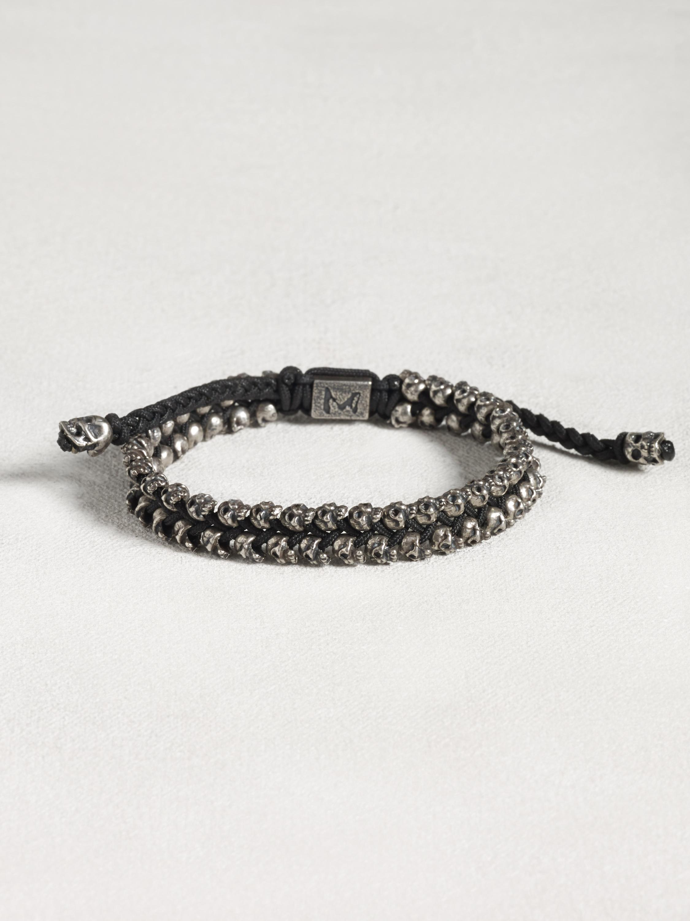 Double Row Sterling Silver Skull Bracelet