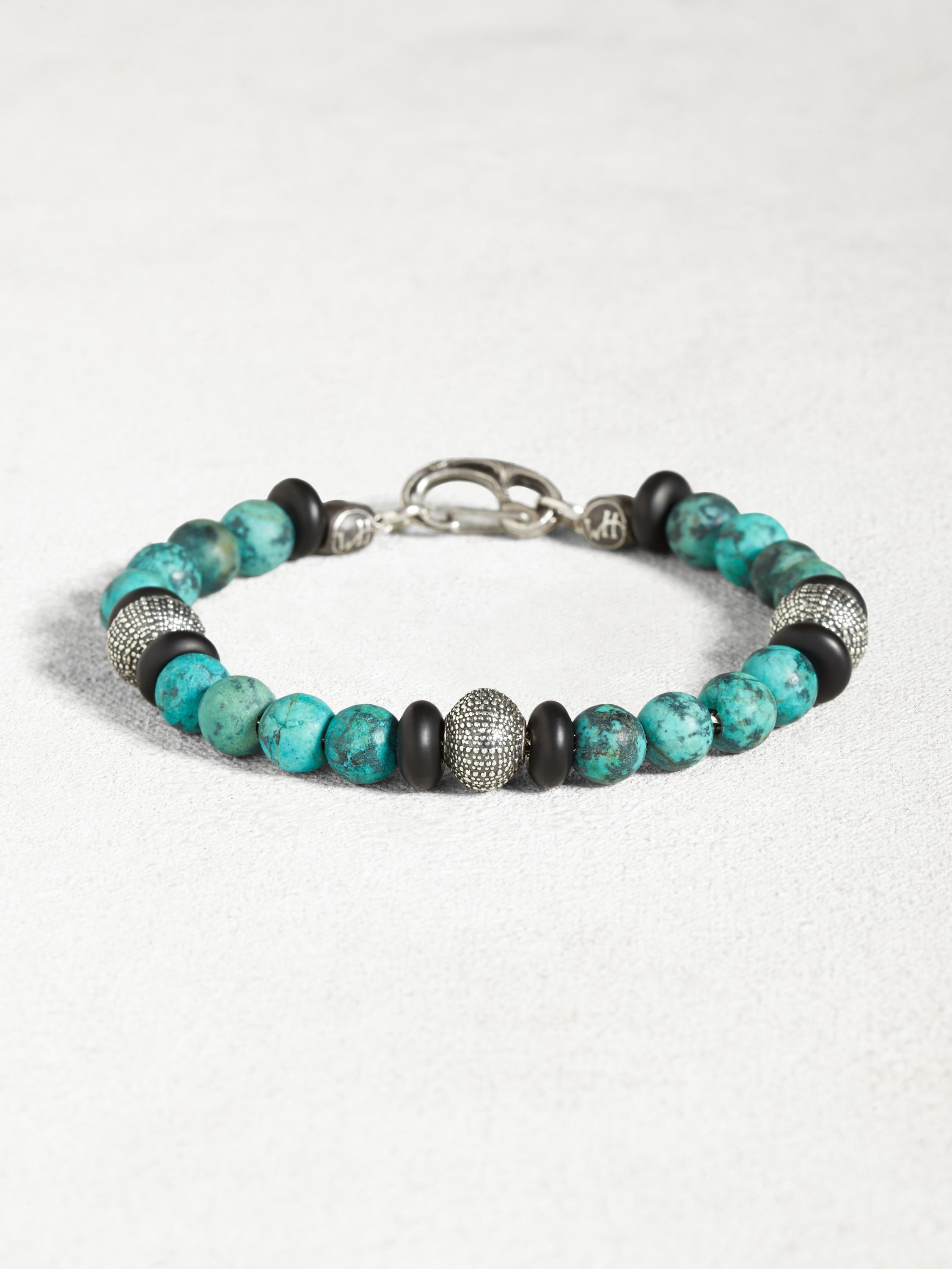 Turquoise & Onyx Bracelet with Sterling Silver Urchins