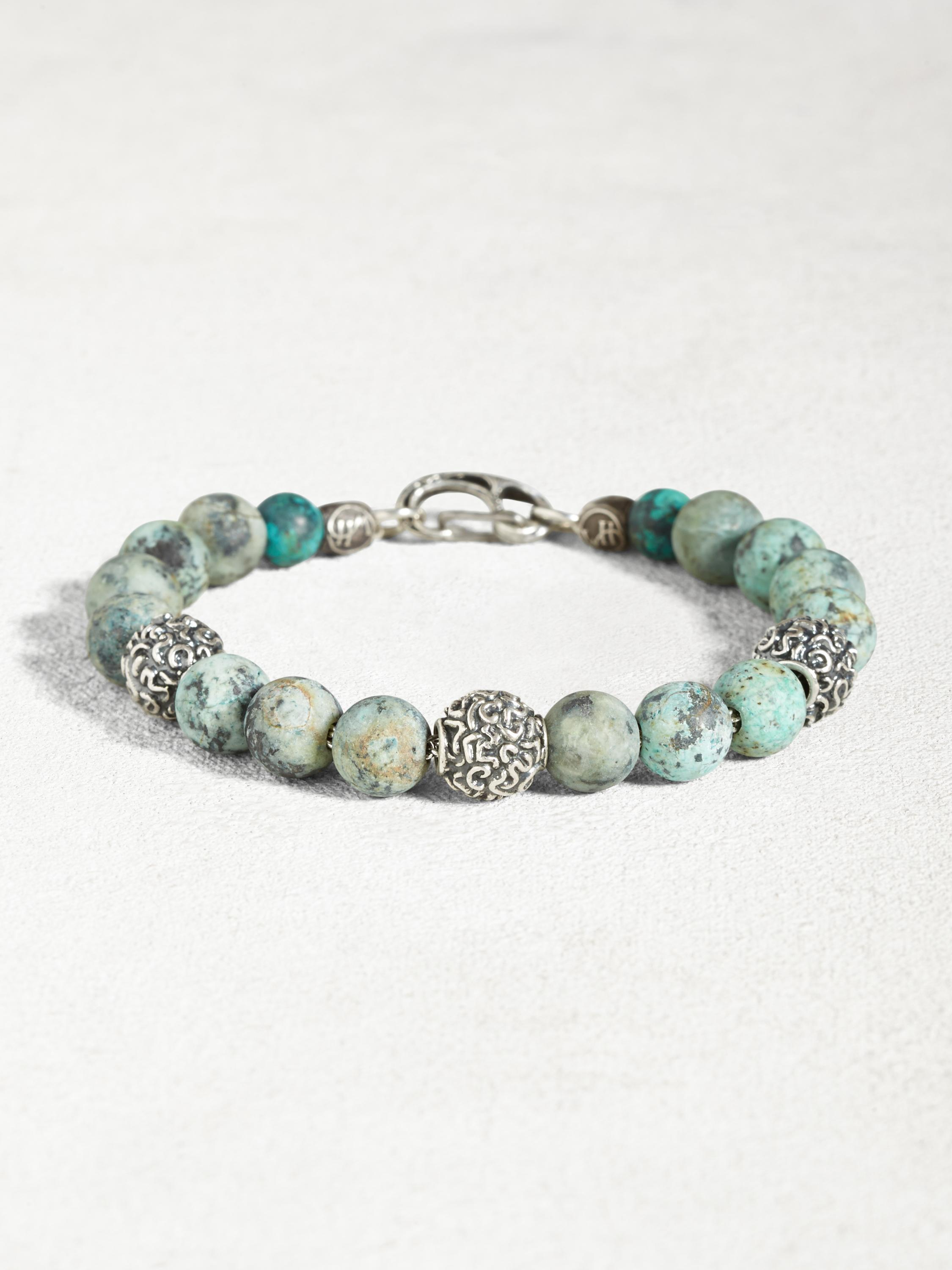 Turquoise Bracelet with Sterling Silver Beads
