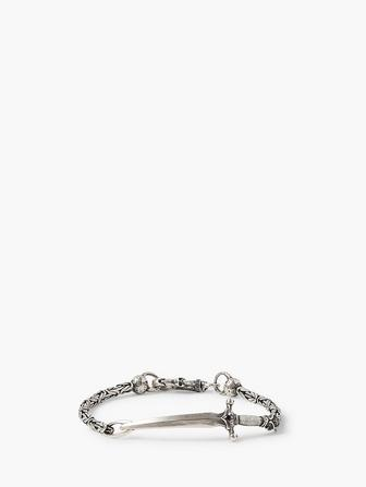 Silver Dagger on Chain Bracelet