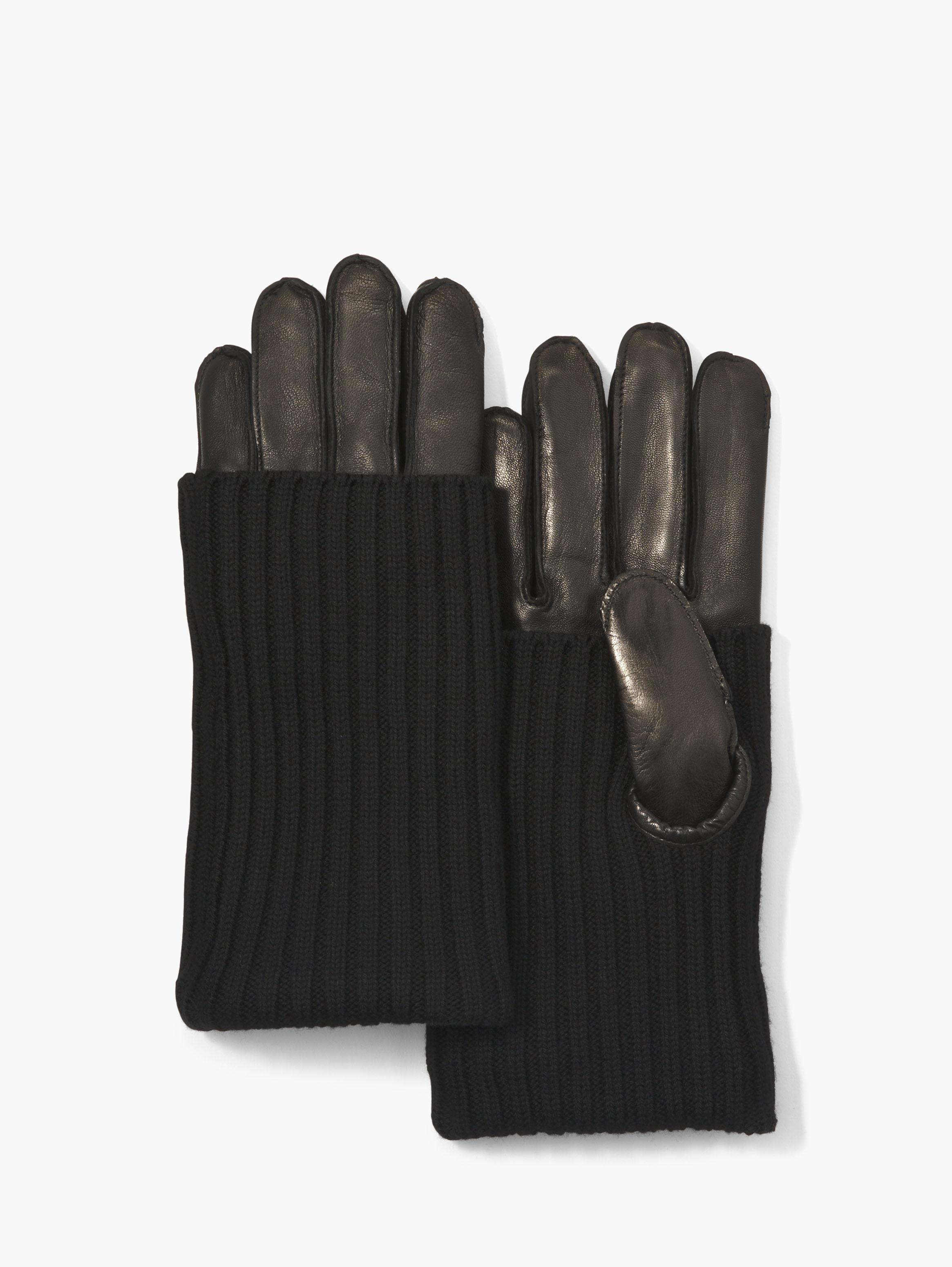 Knit Covered Leather Gloves