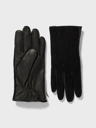 Leather & Suede Side Zip Glove