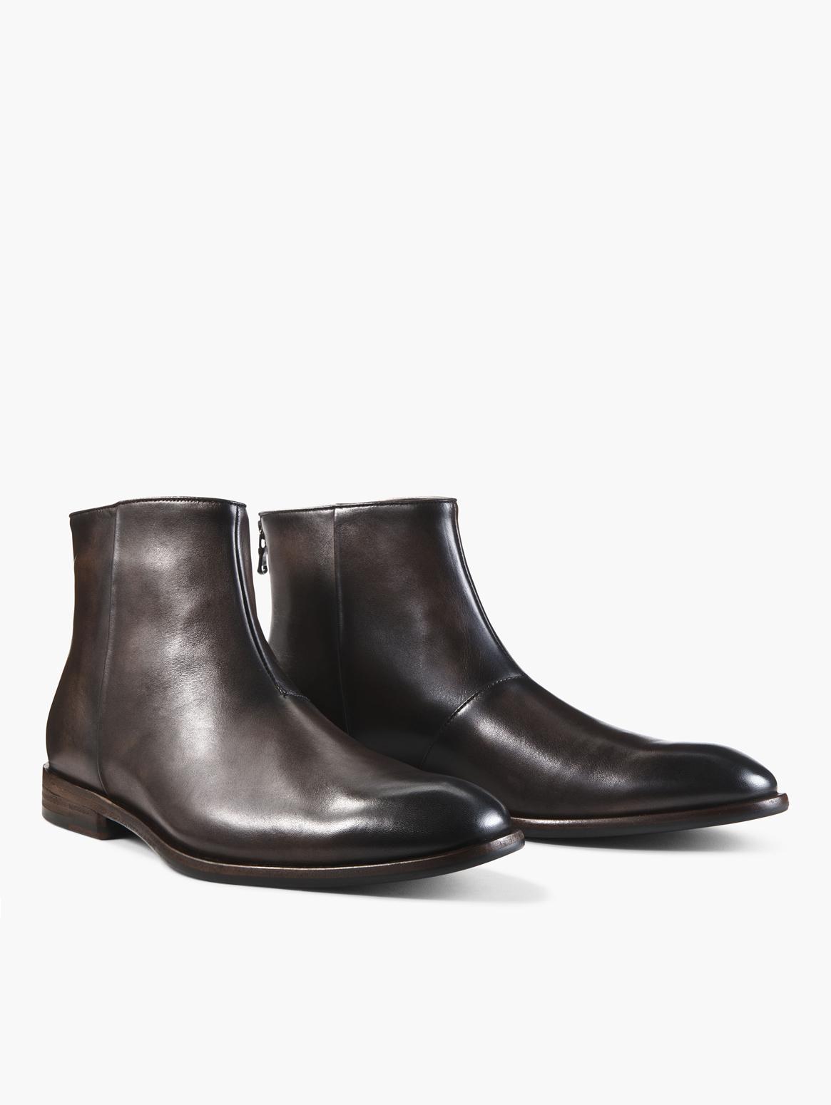 John Varvatos Nyc Back Zip Boots Wood Brown