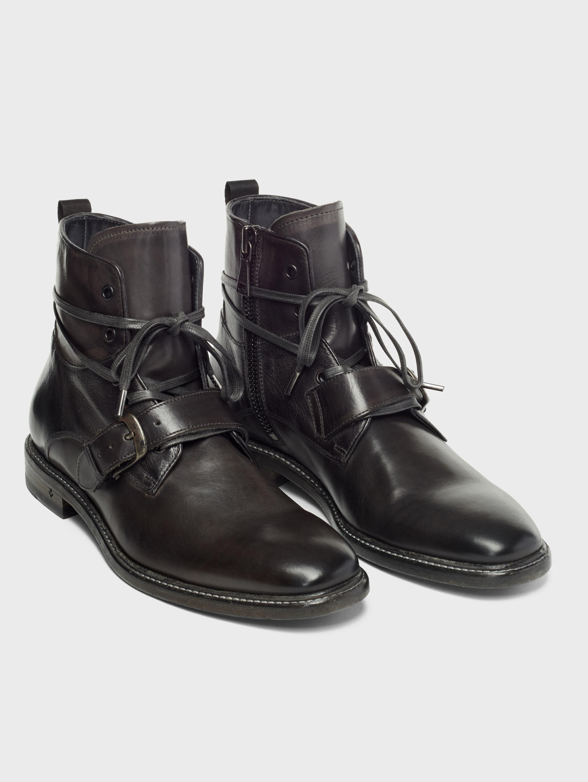 John Varvatos Irving Welted Buckle Lace Boots Lead