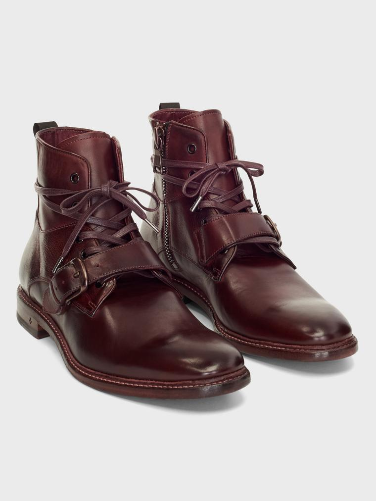 John Varvatos Irving Welted Buckle Lace Boots Burgundy