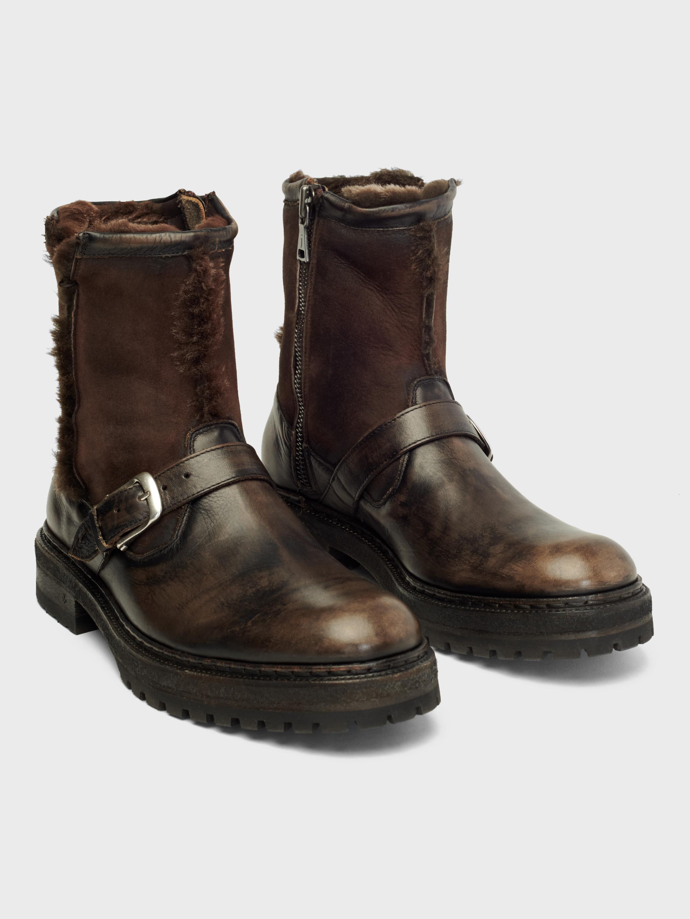 John Varvatos Union Shearling Moto Boots Walnut