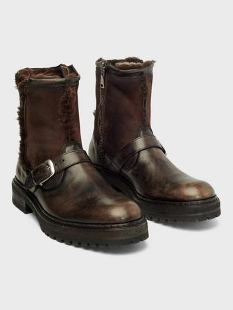 UNION SHEARLING MOTO BOOT