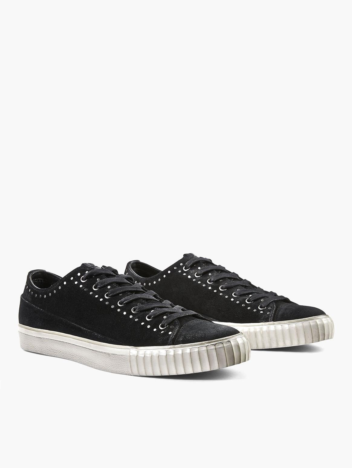 John Varvatos Black Suede Studded Low-Top Sneakers