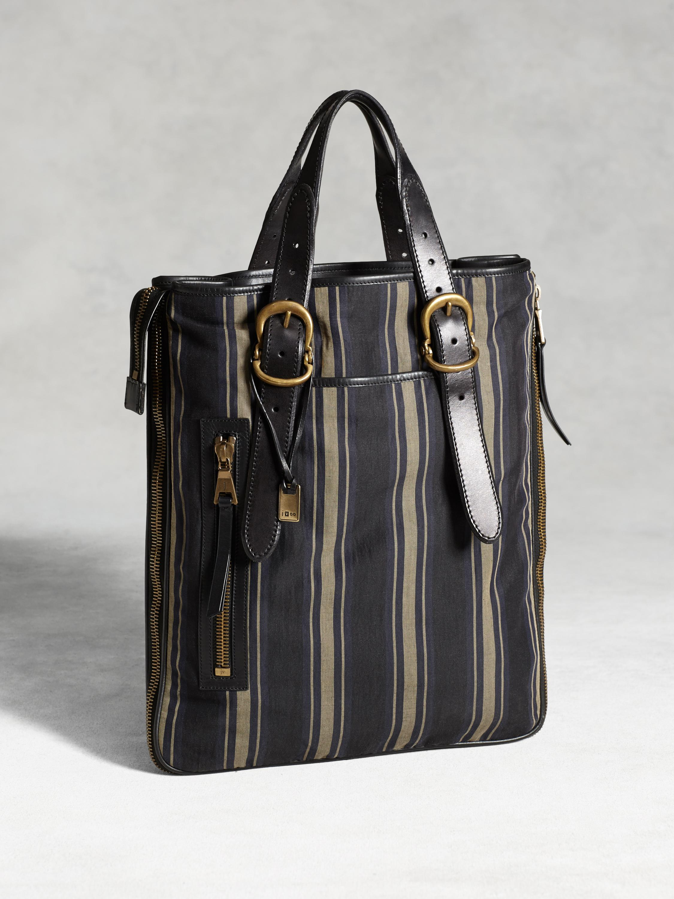 Bleeker Expandable Zip Shopper Stripe Bag