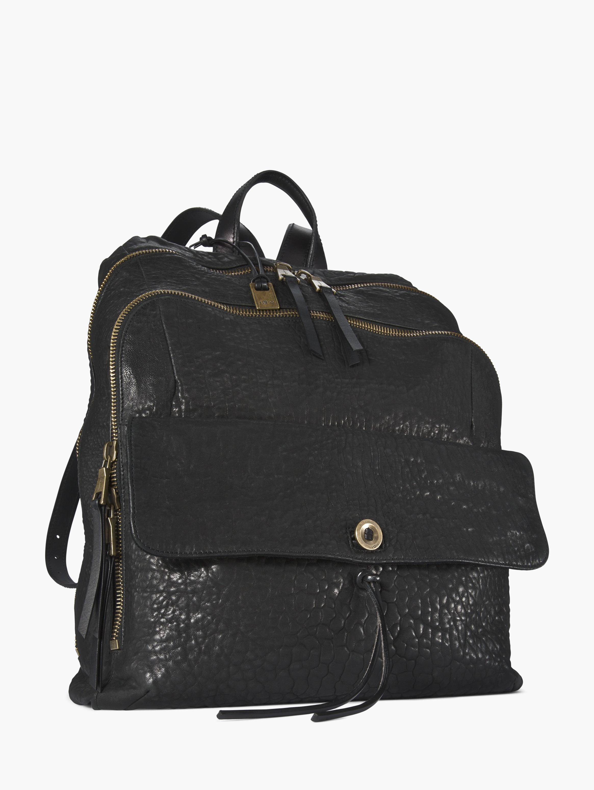 Richards Black Leather Backpack