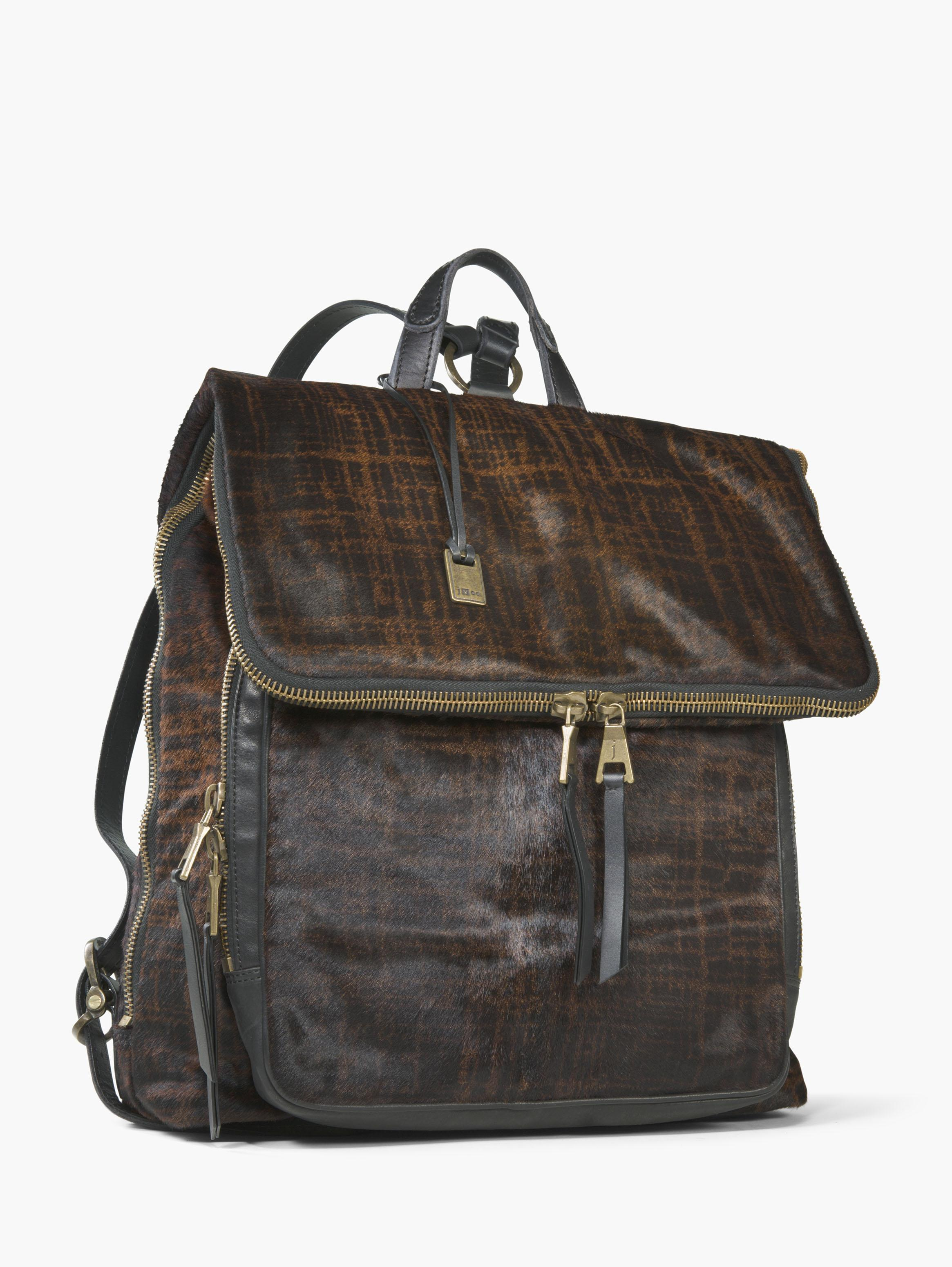 Calf Hair Fold-Over Zip Backpack