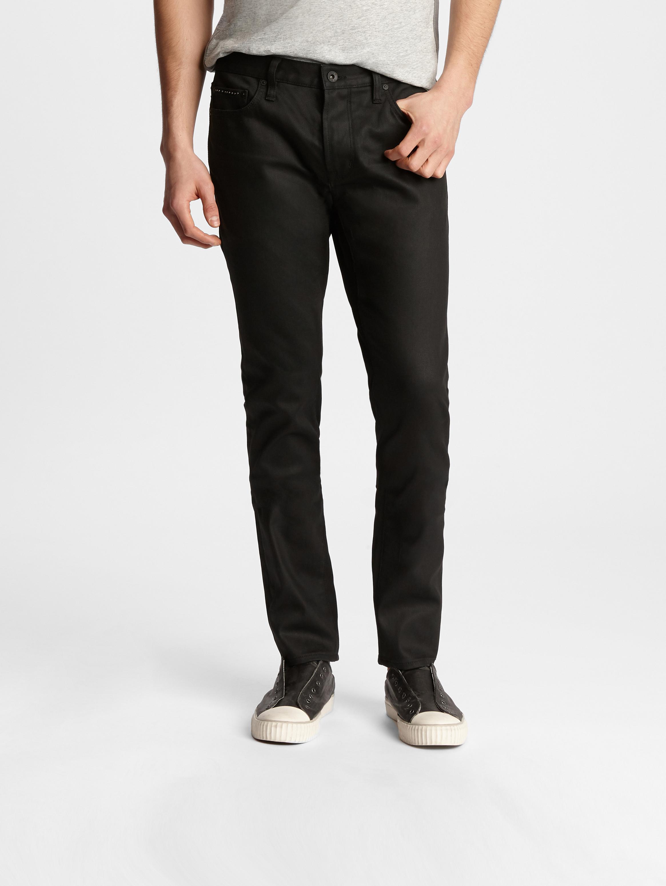 John Varvatos Black Wight Fit Studded Jeans