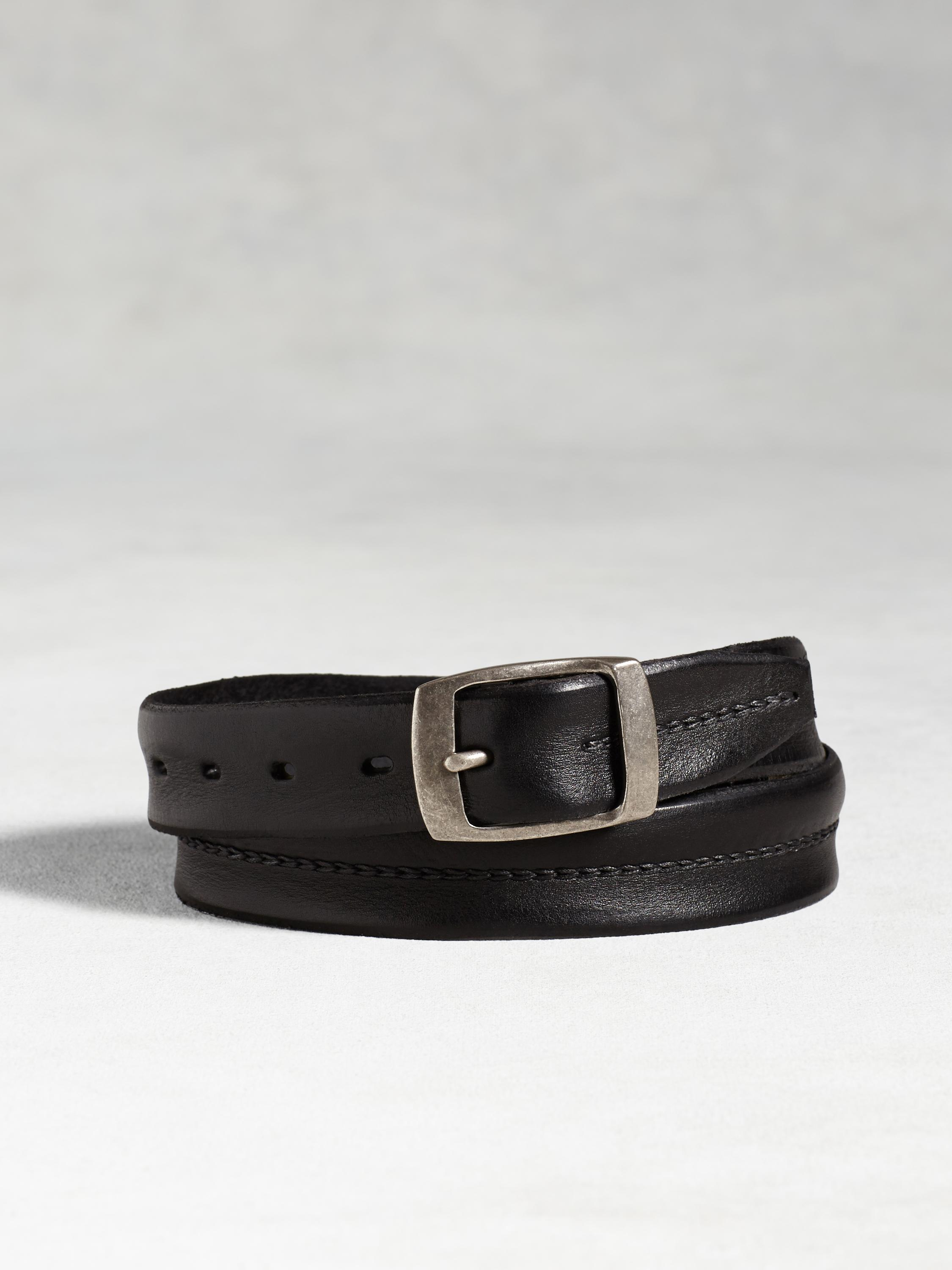 Leather Center Stitch Belt