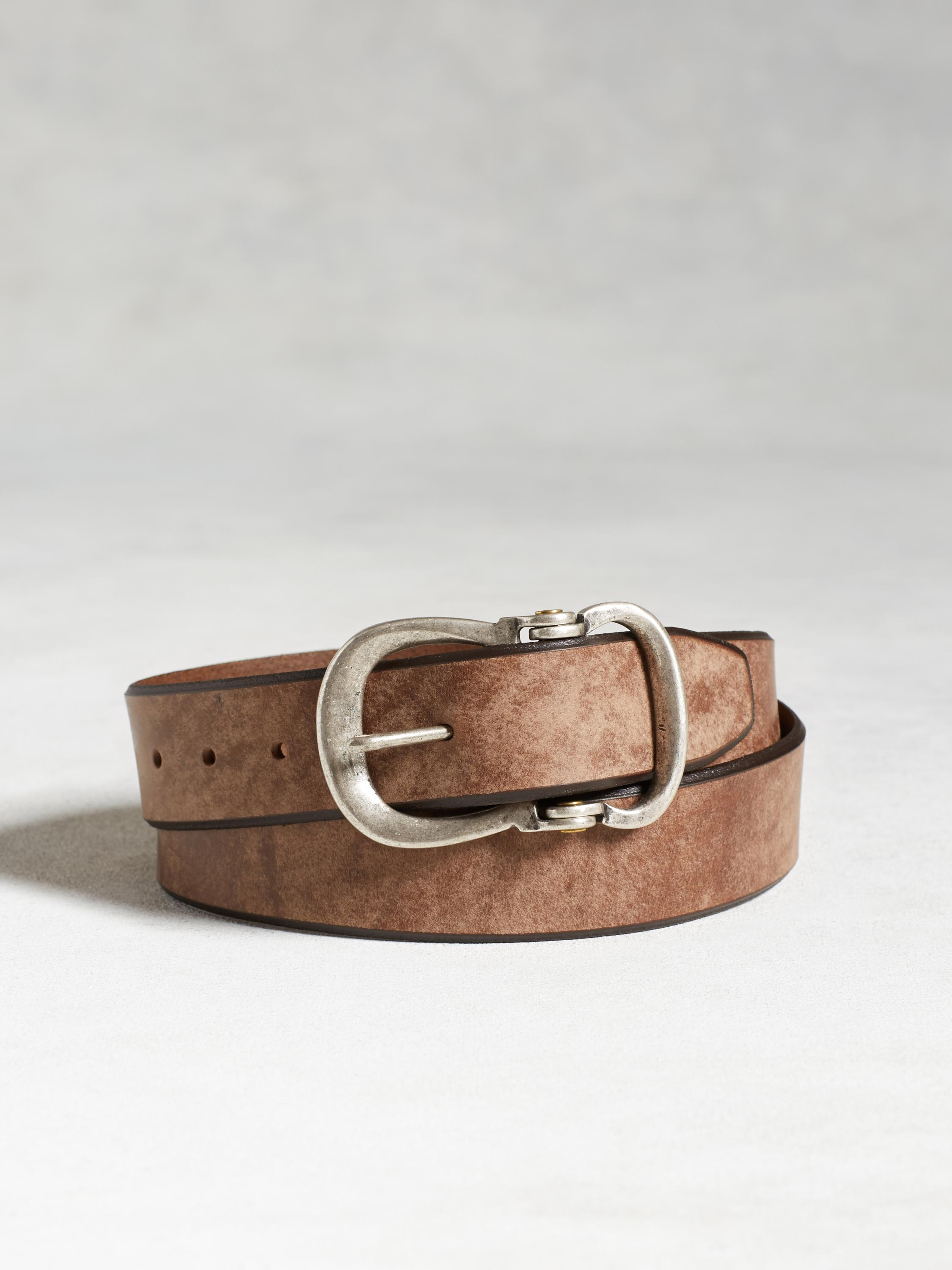 Leather Contrast Trim Belt