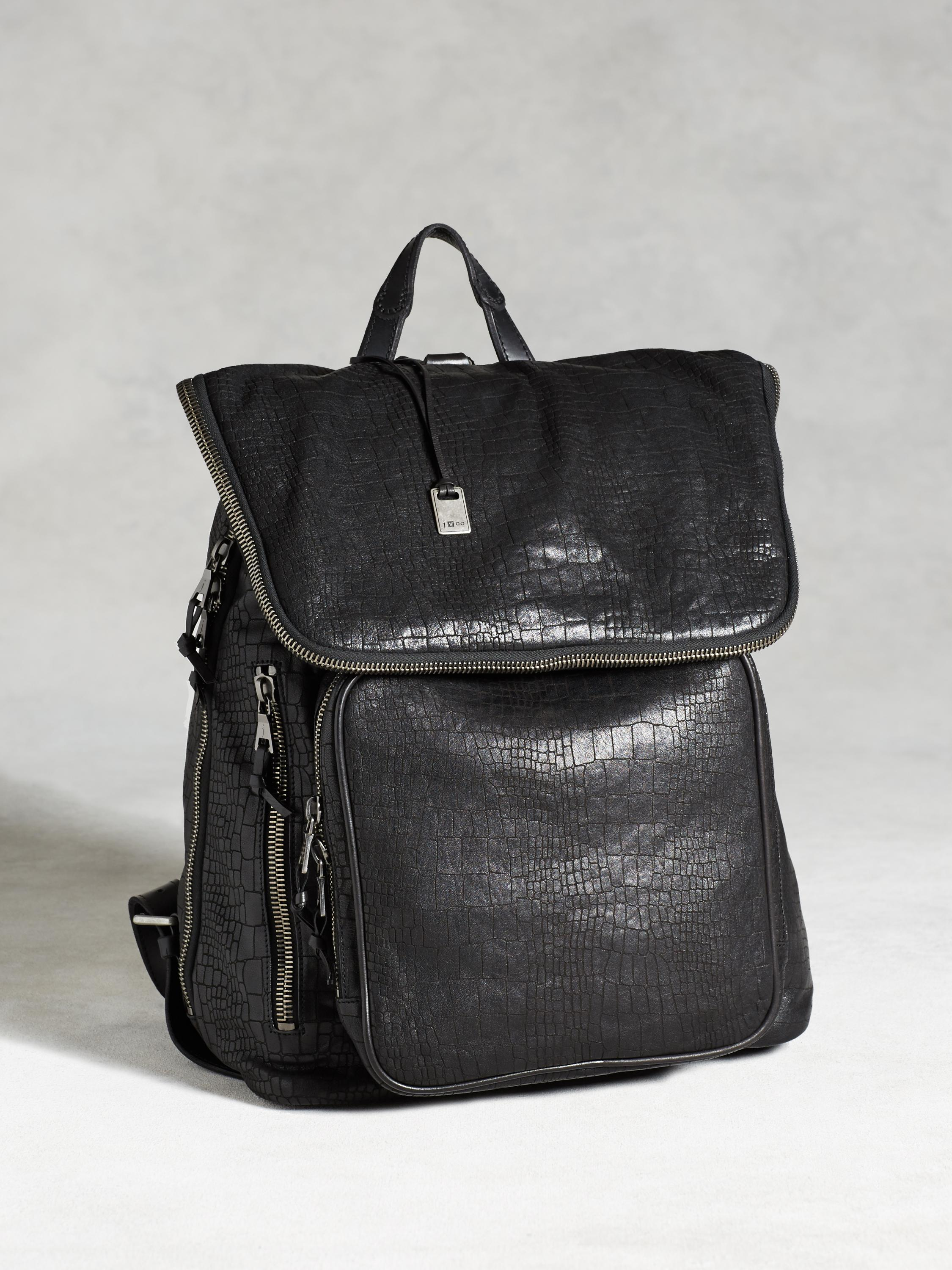 Croc-Embossed Backpack