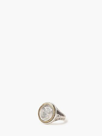 Silver Coin Signet Ring