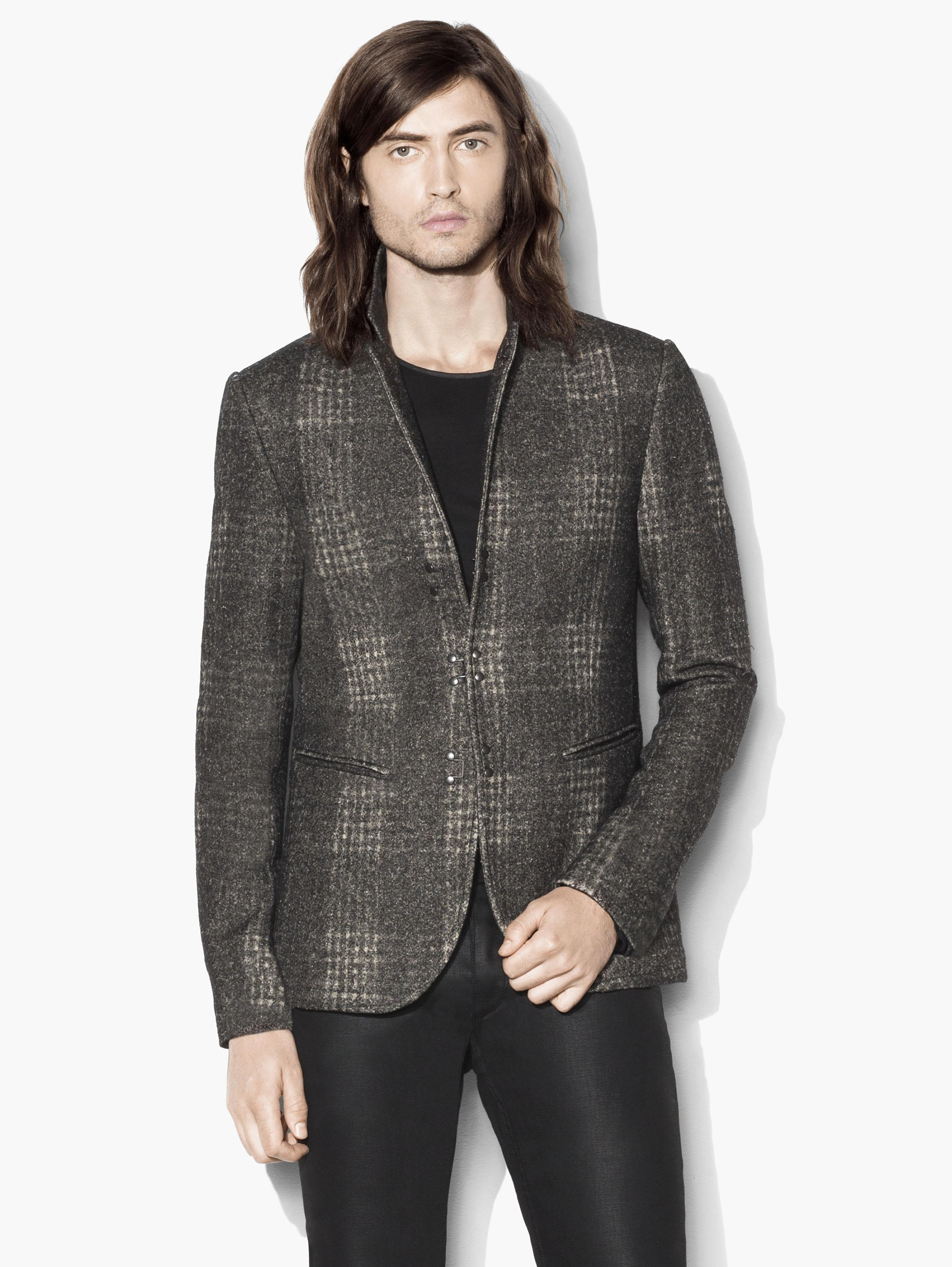 Wool Slim Fit Plaid Jacket