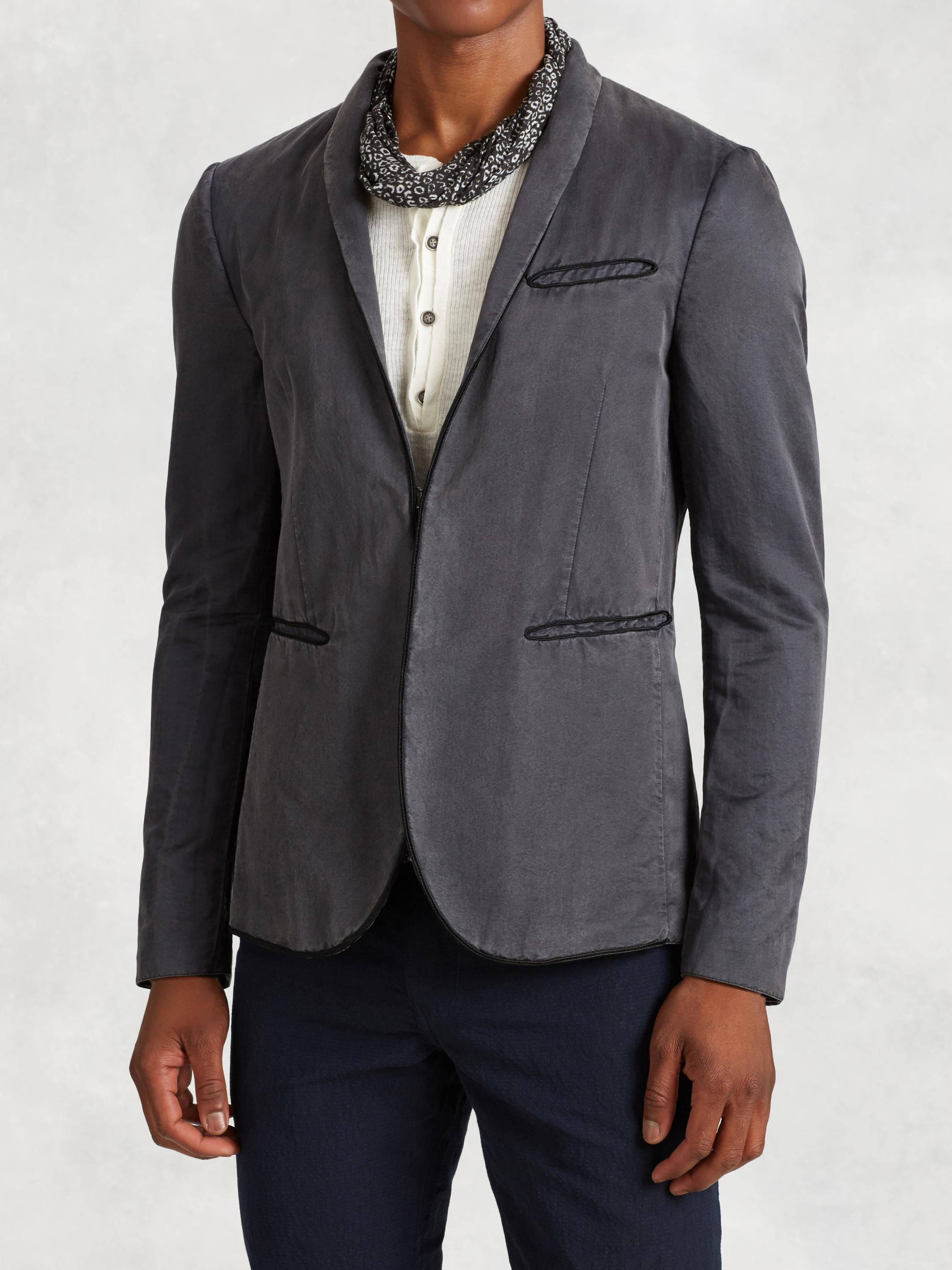 Cotton Silk Shawl Collar Jacket