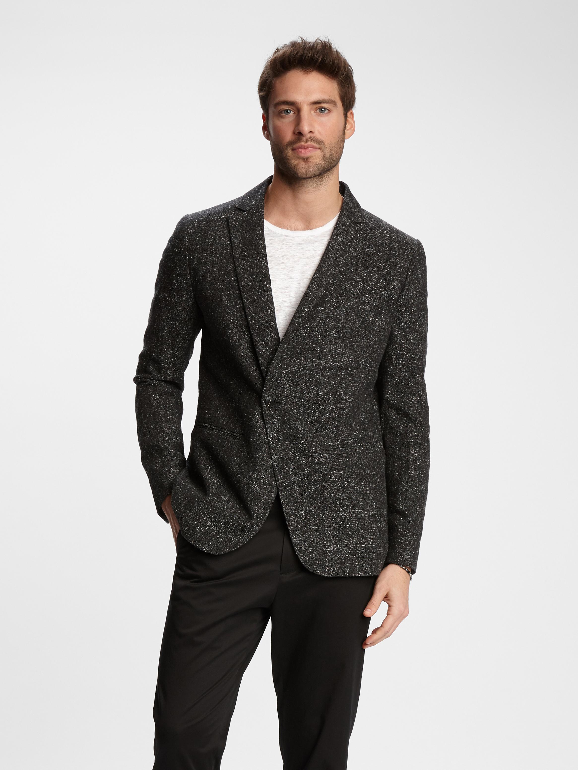 John Varvatos Asymmetric One Button Jacket Black