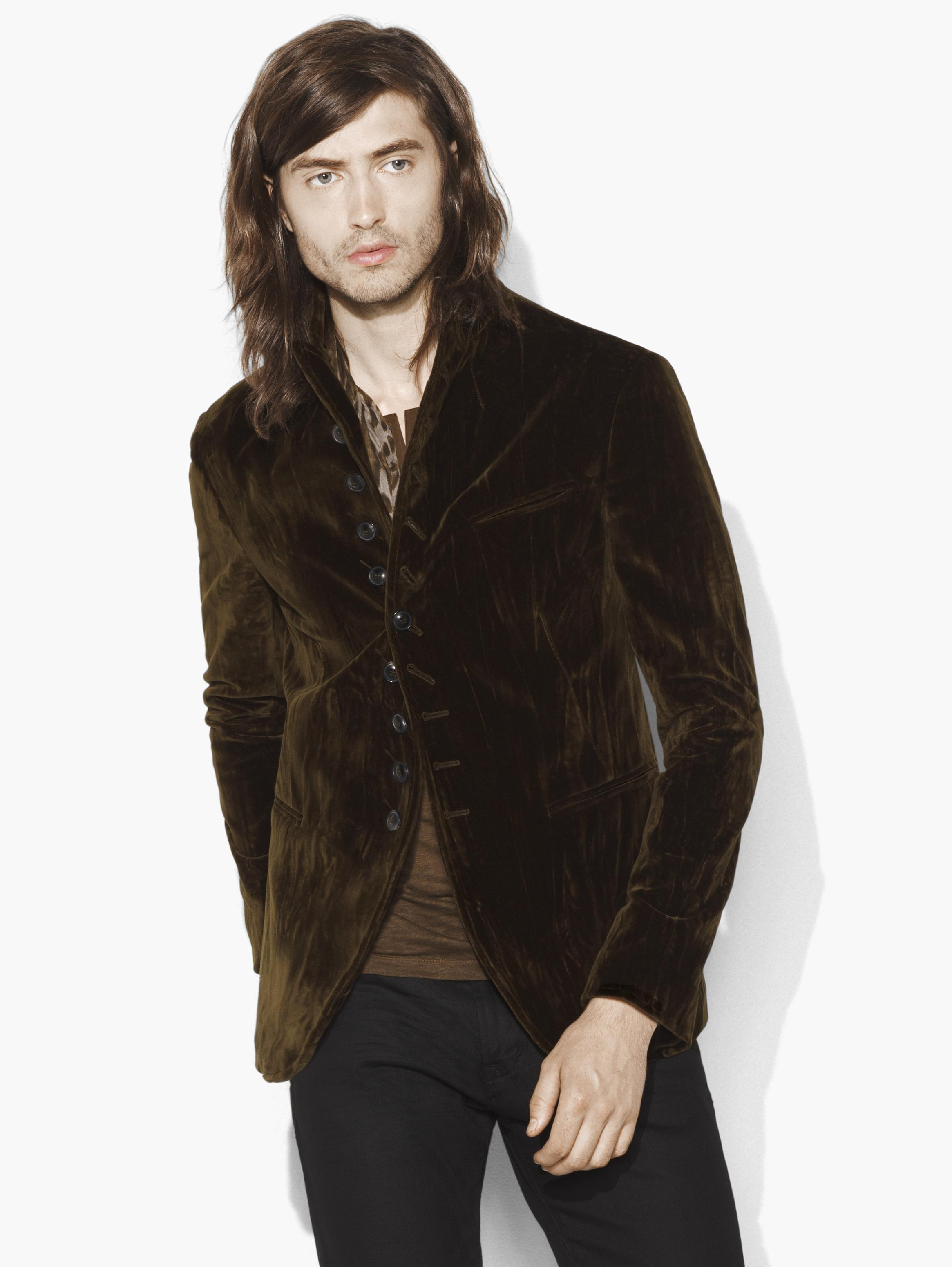 Multi-Button Convertible Velvet Jacket