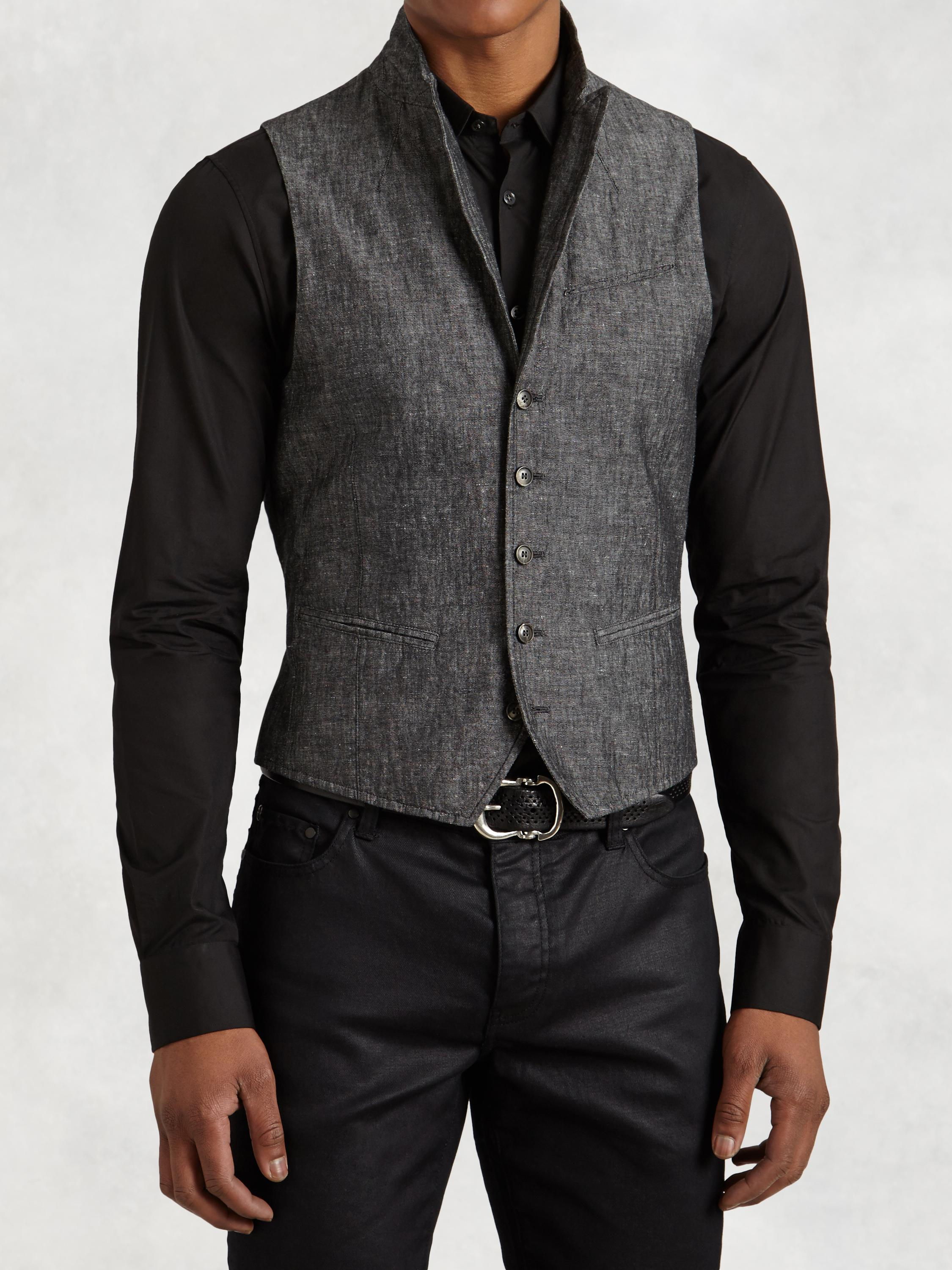 Cotton Linen Wire Collar Vest