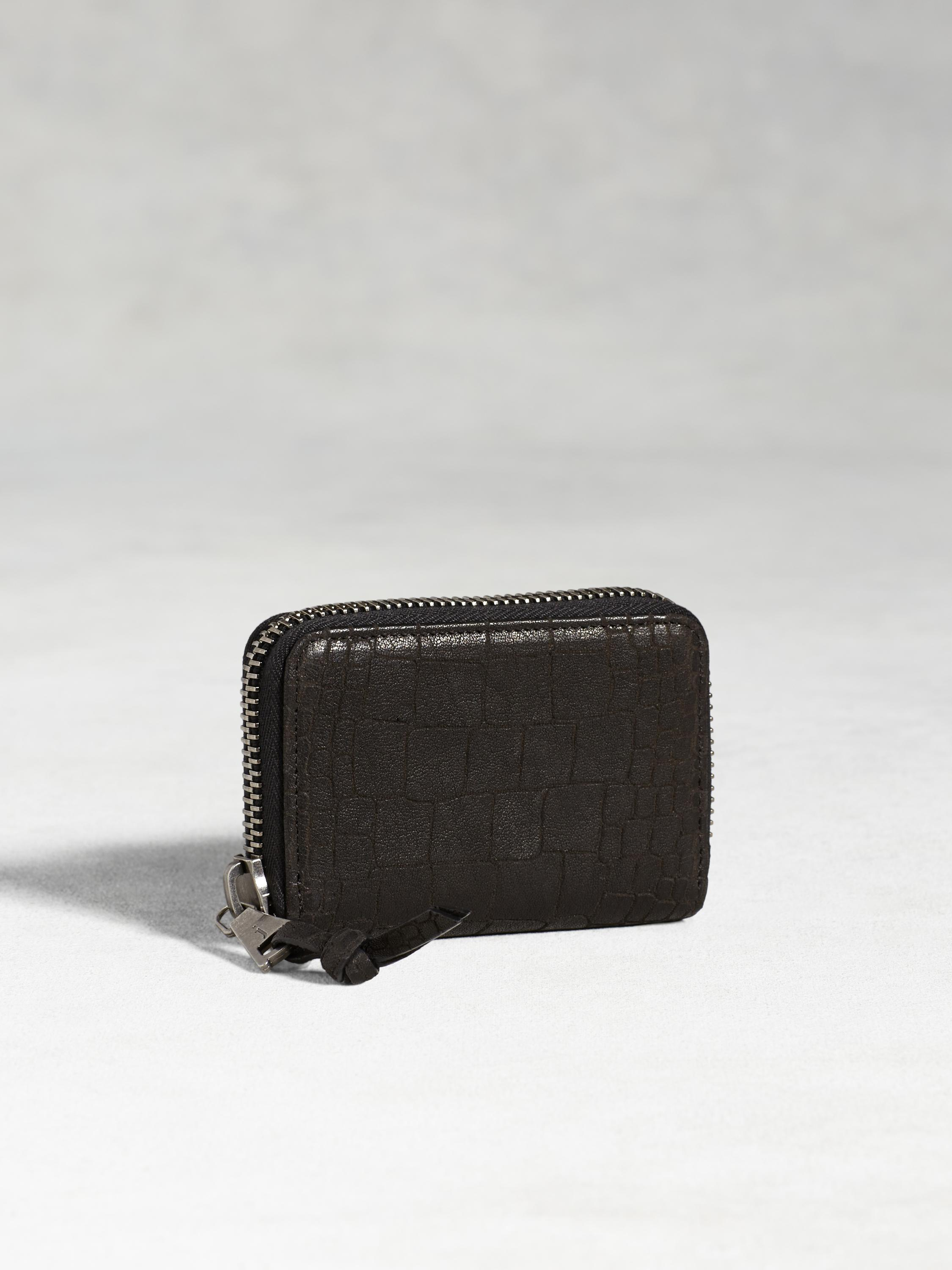 Croc-Embossed Zip Card Case
