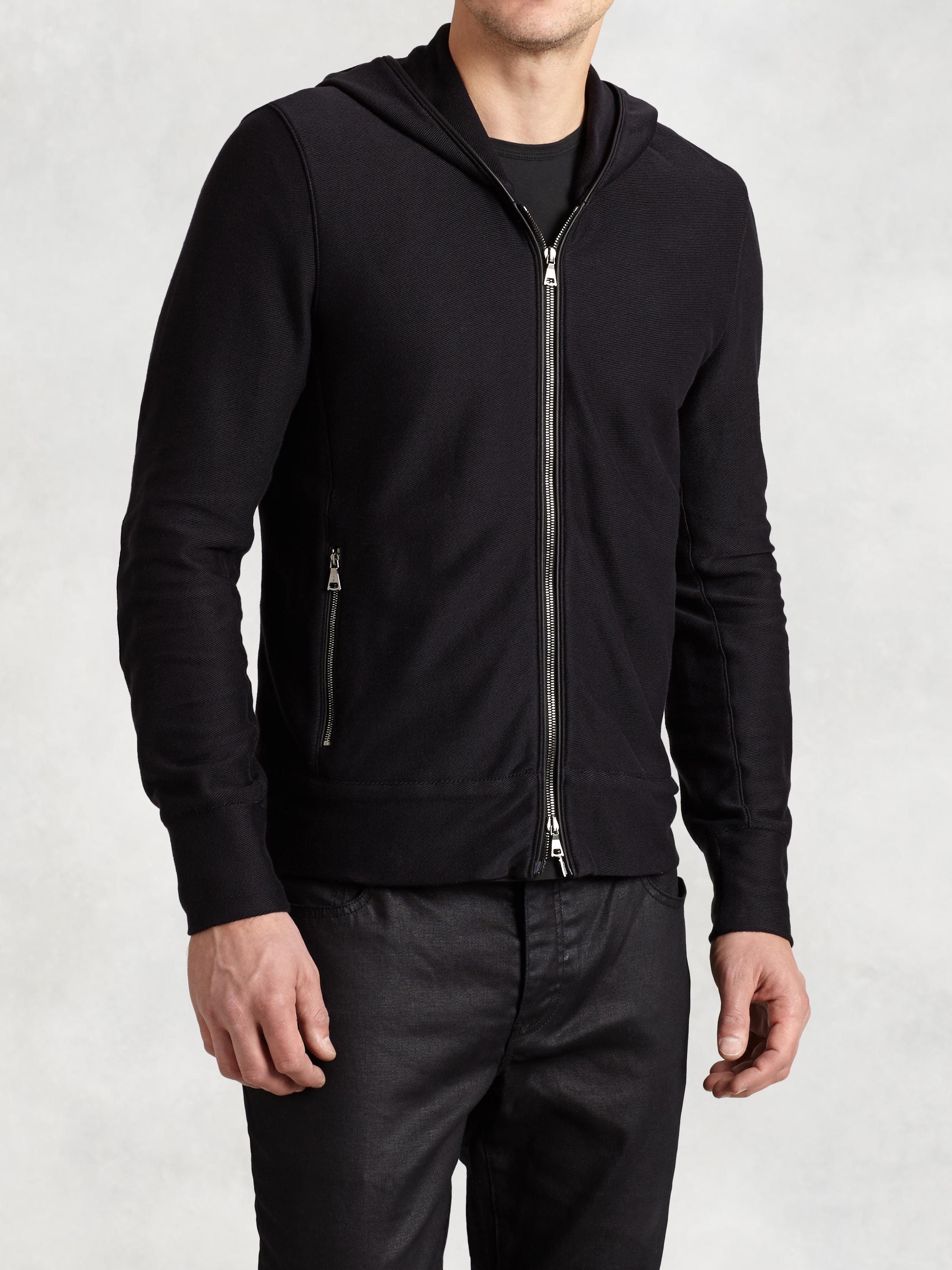 Zip Hoodie with Leather Elbow Patches