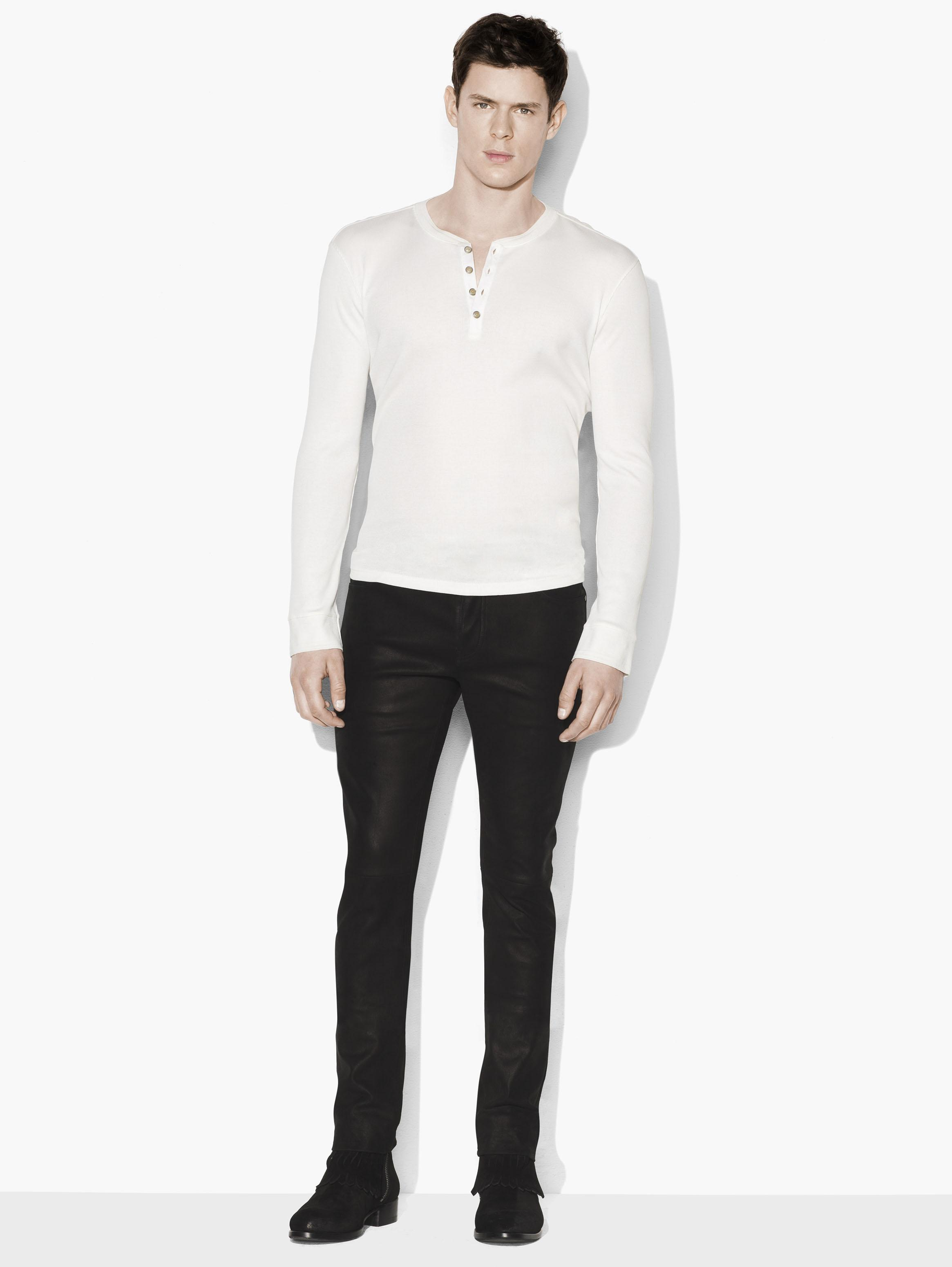 Pima Cotton Ribbed Henley
