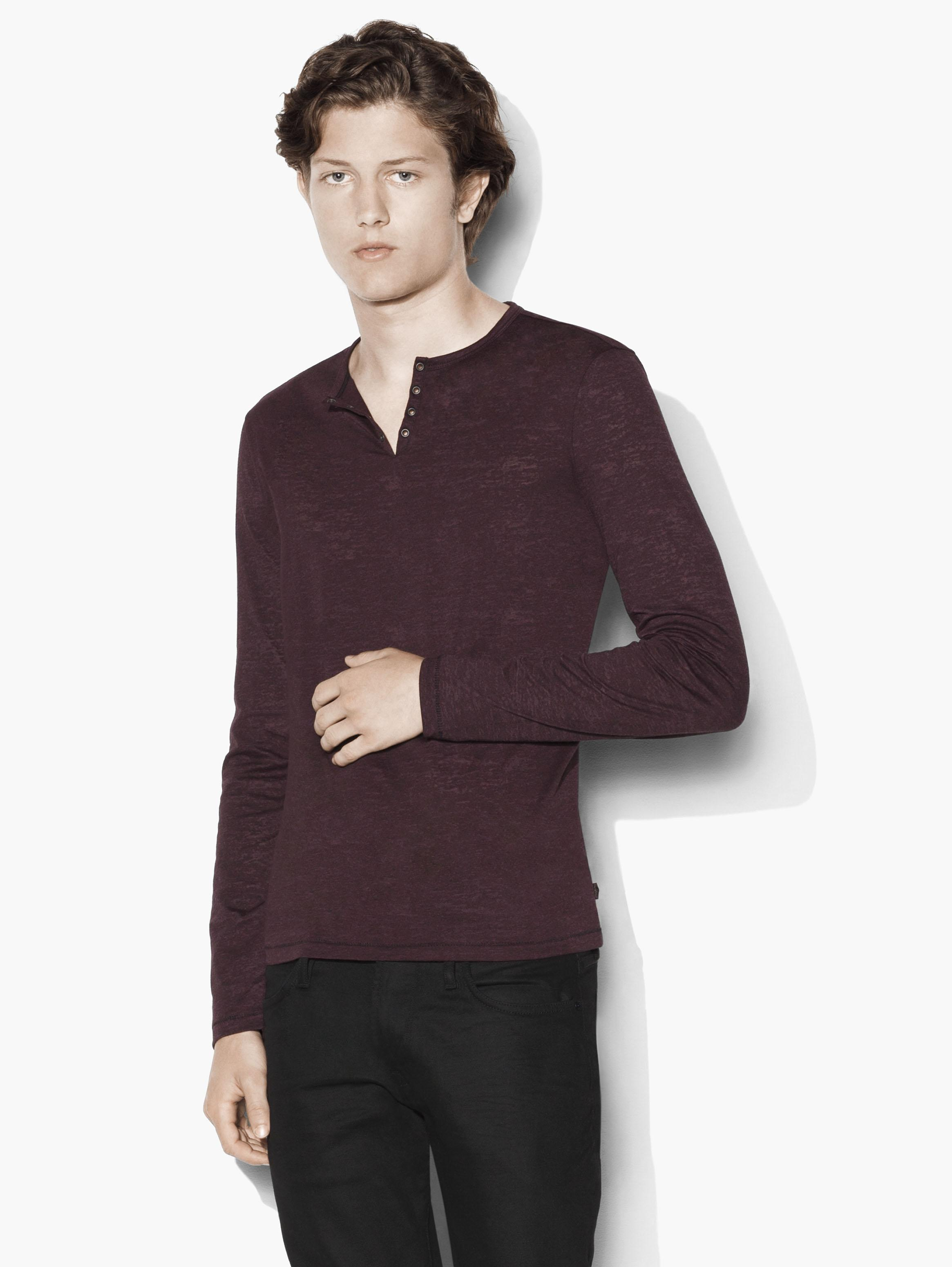 Long Sleeve Eyelet Henley