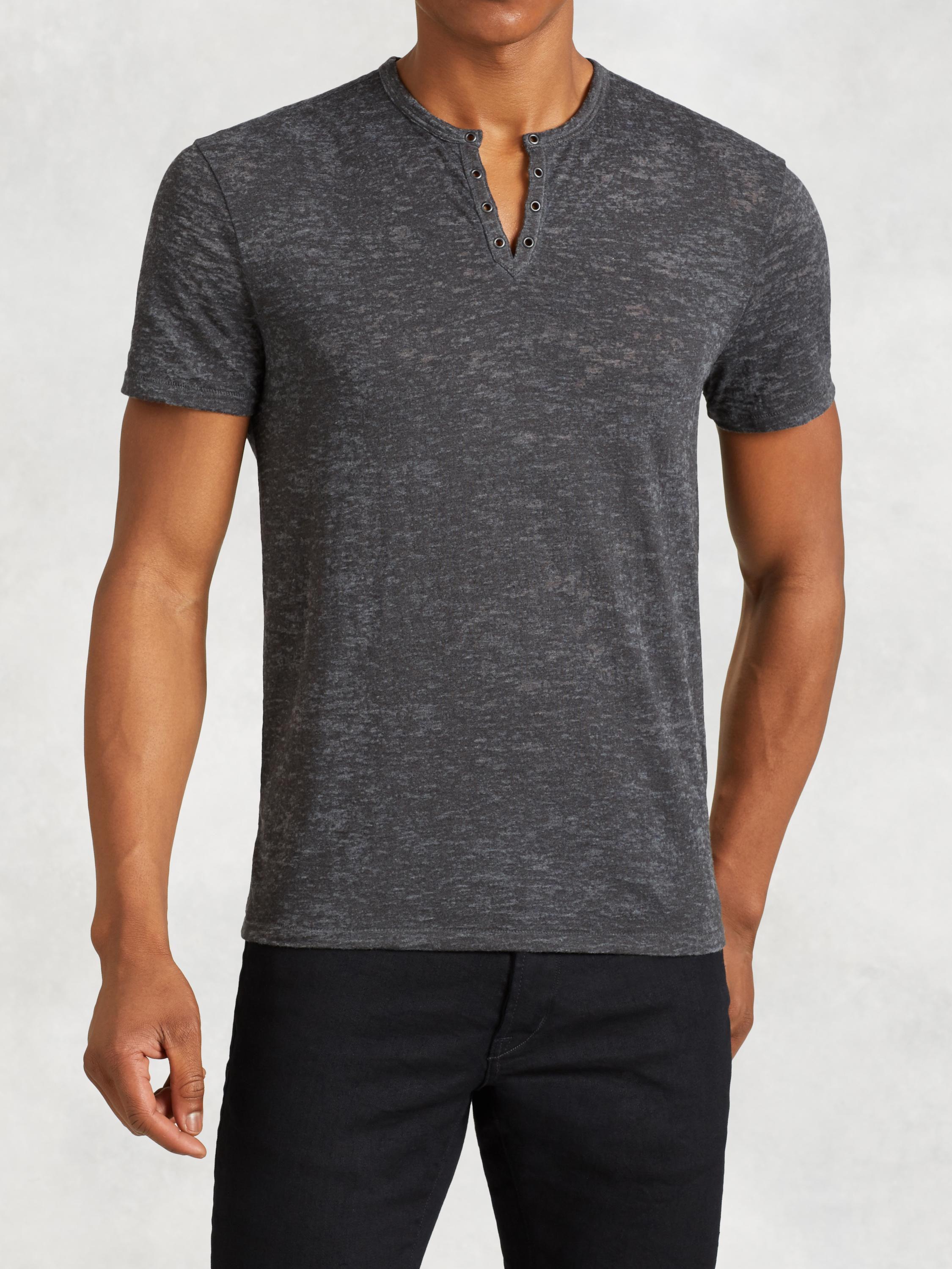 Short Sleeve Henley With Eyelet Detail