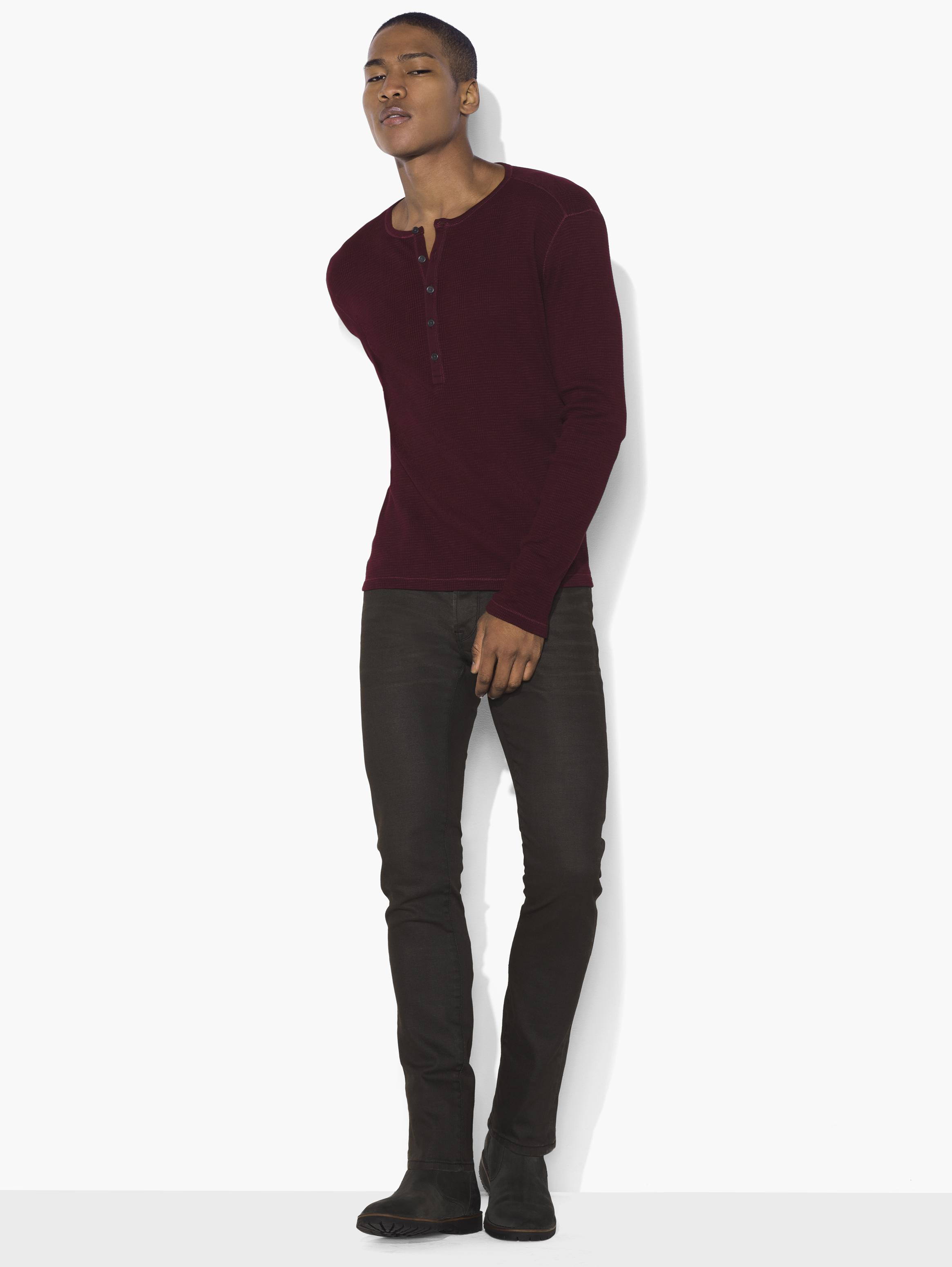 Variegated Rib Knit Henley