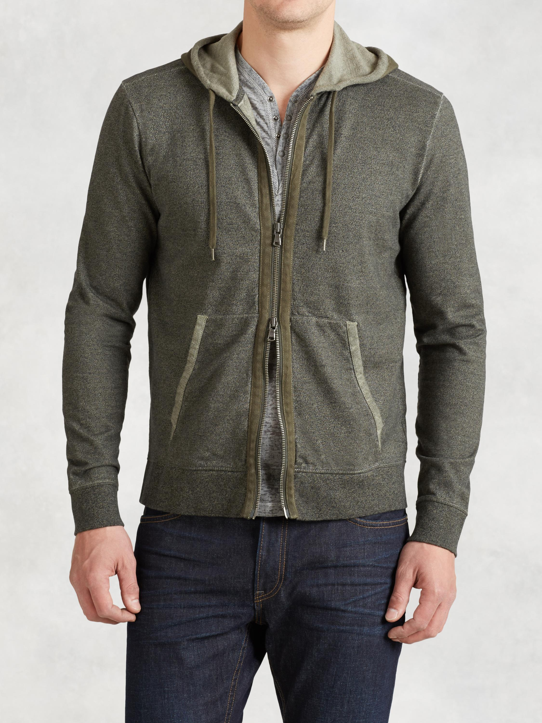 Zip Hoodie With Herringbone Detail