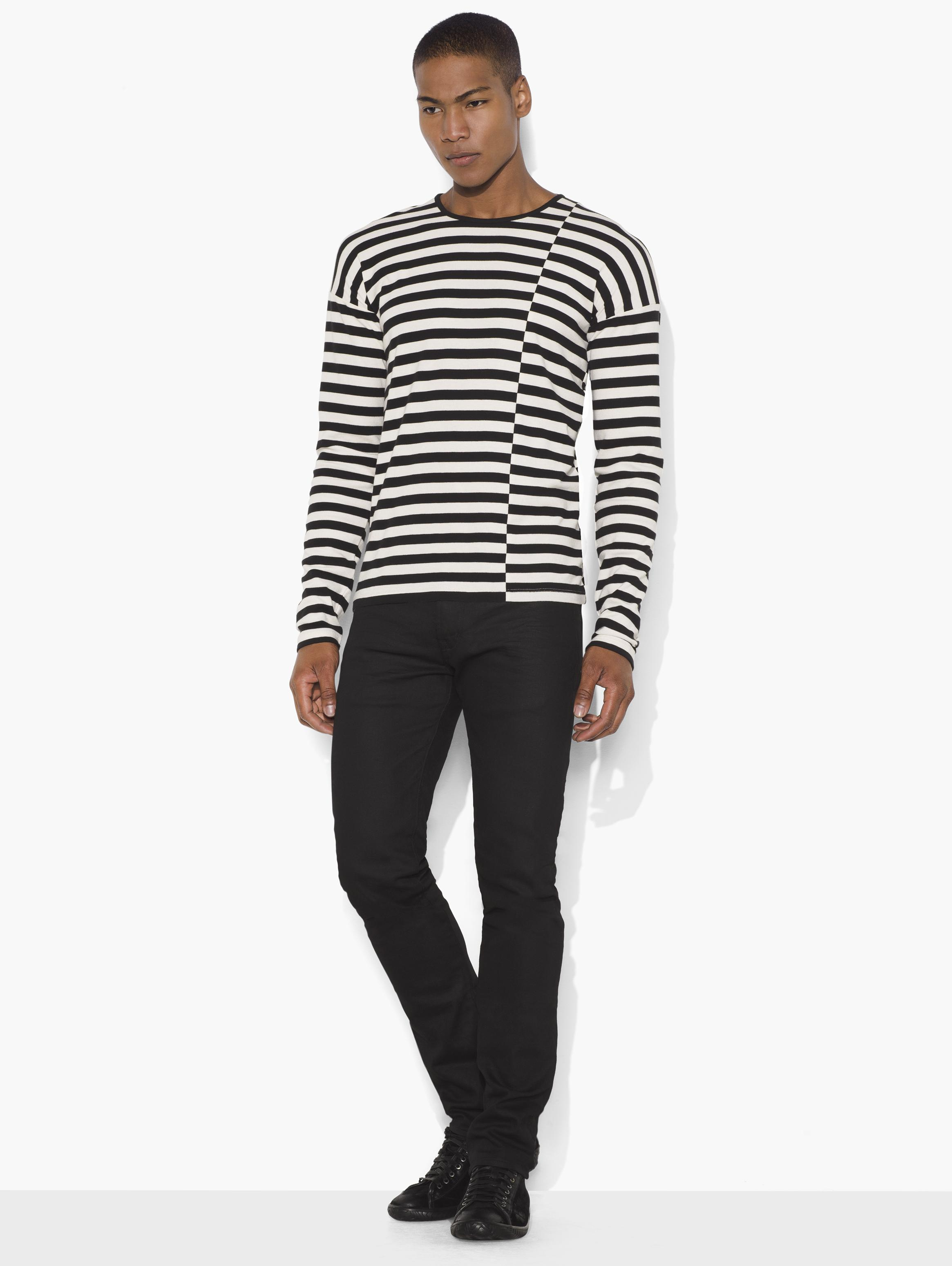 Asymmetric Striped Crewneck