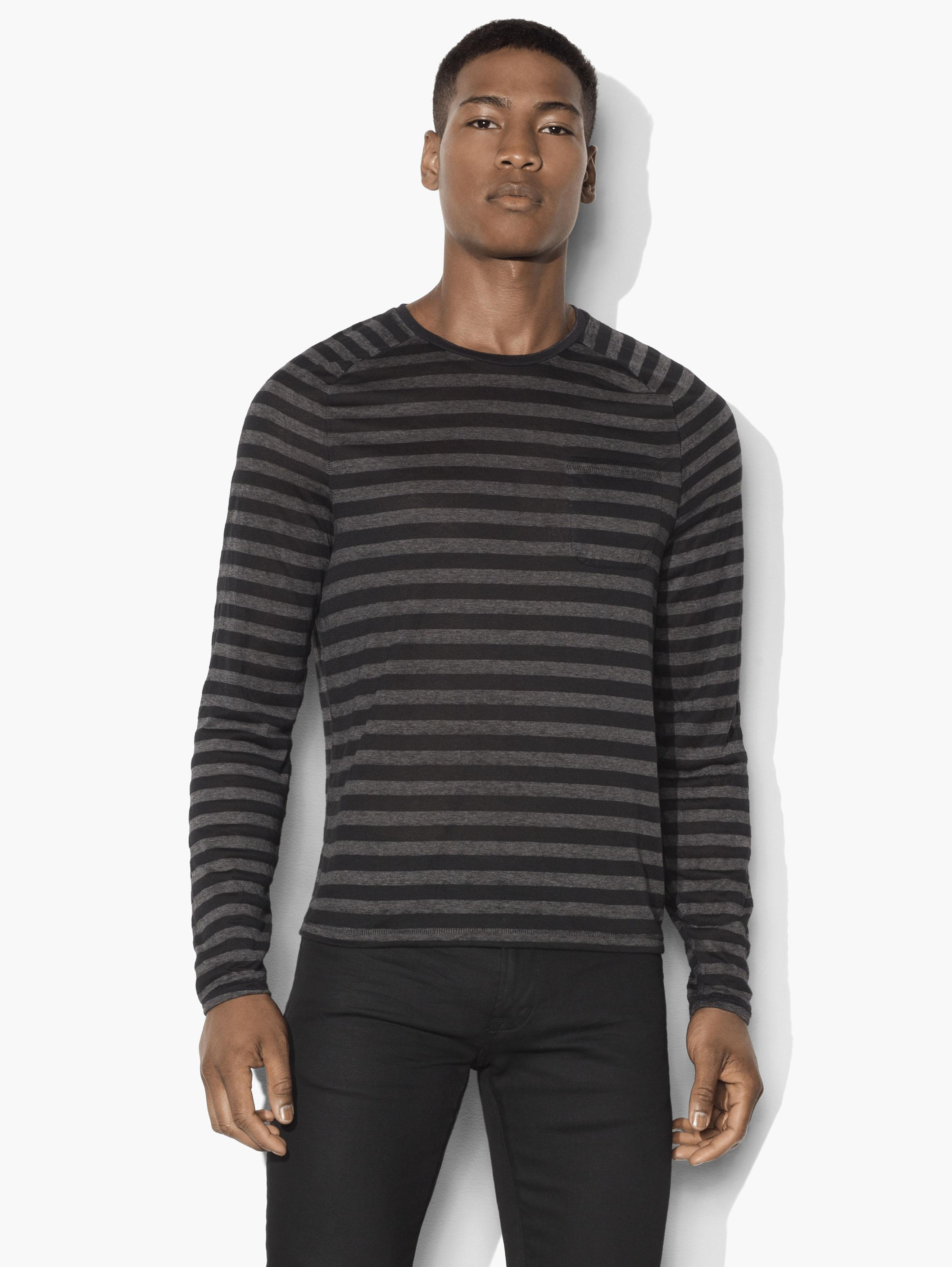 Striped Saddle Shoulder Crewneck