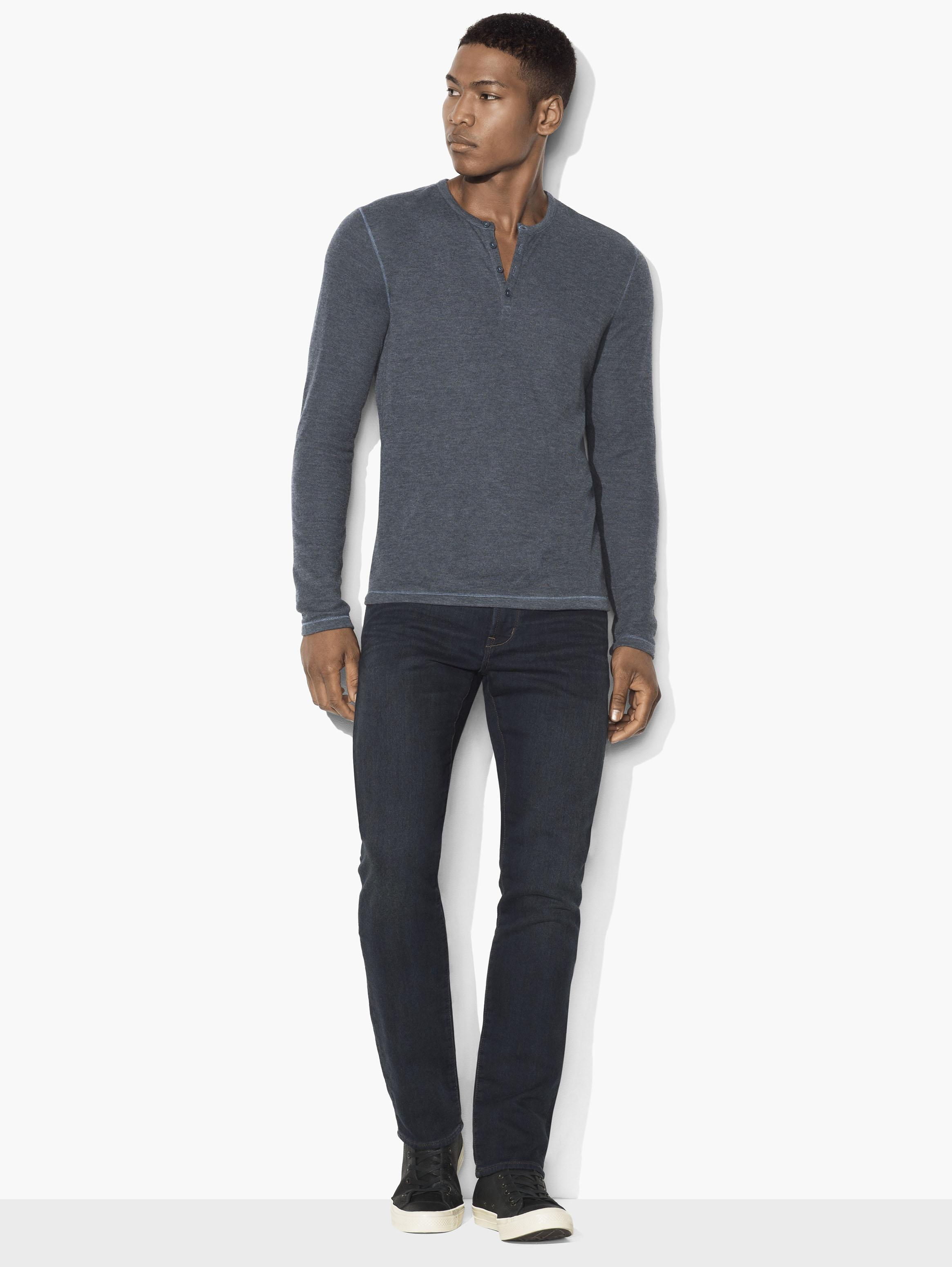 Lightweight Mini-Jacquard Henley