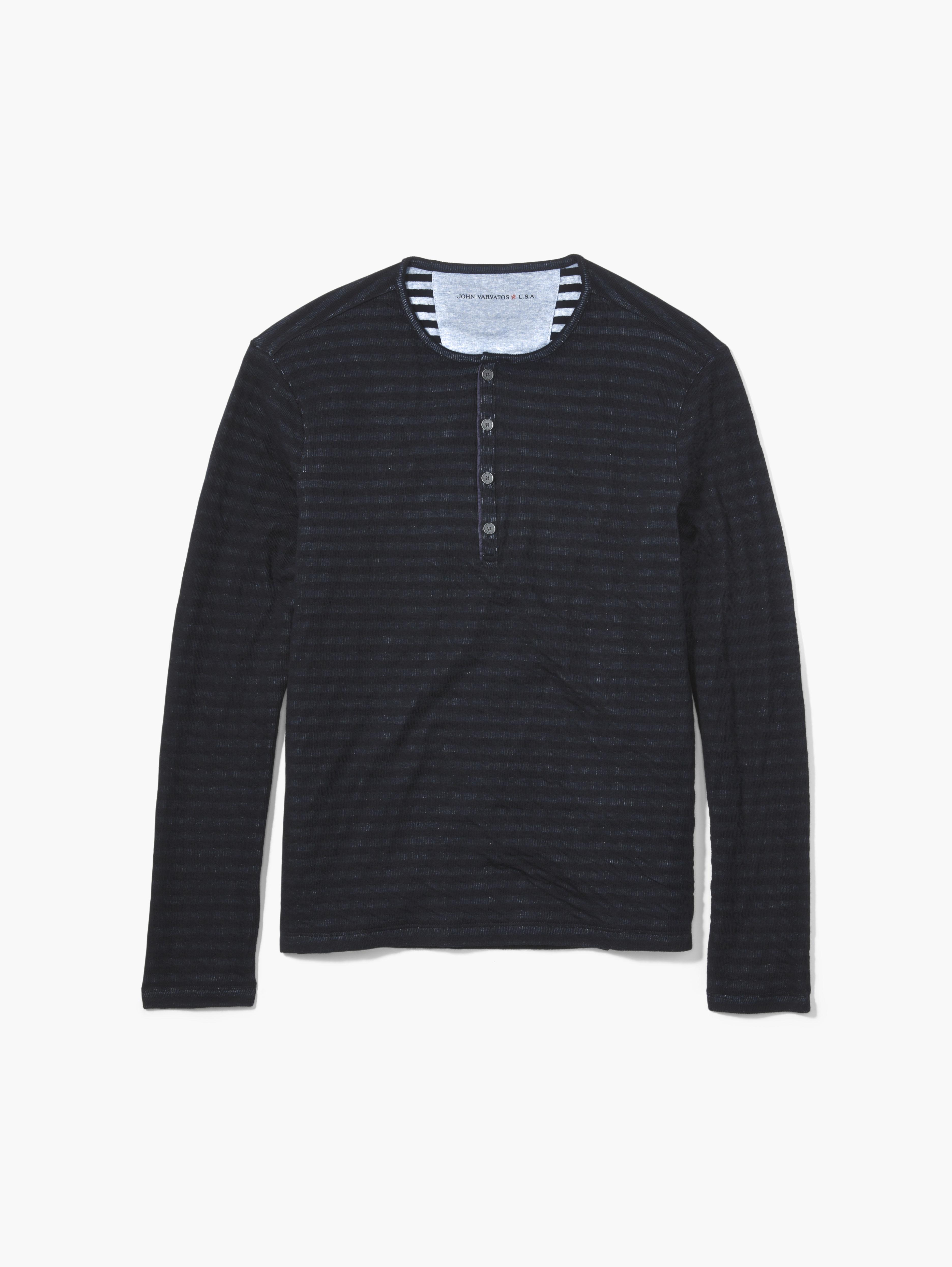 Double-Faced Striped Henley