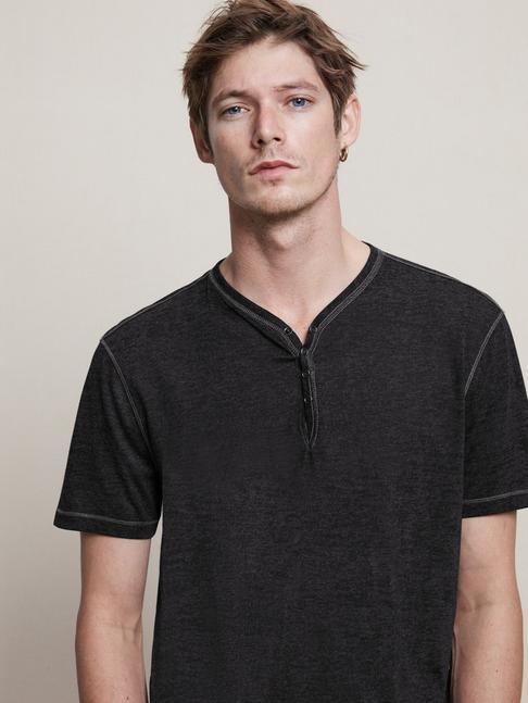 John Varvatos Star USA Mens Waylon Short Sleeve Snap Front Burnout V-Neck Henley